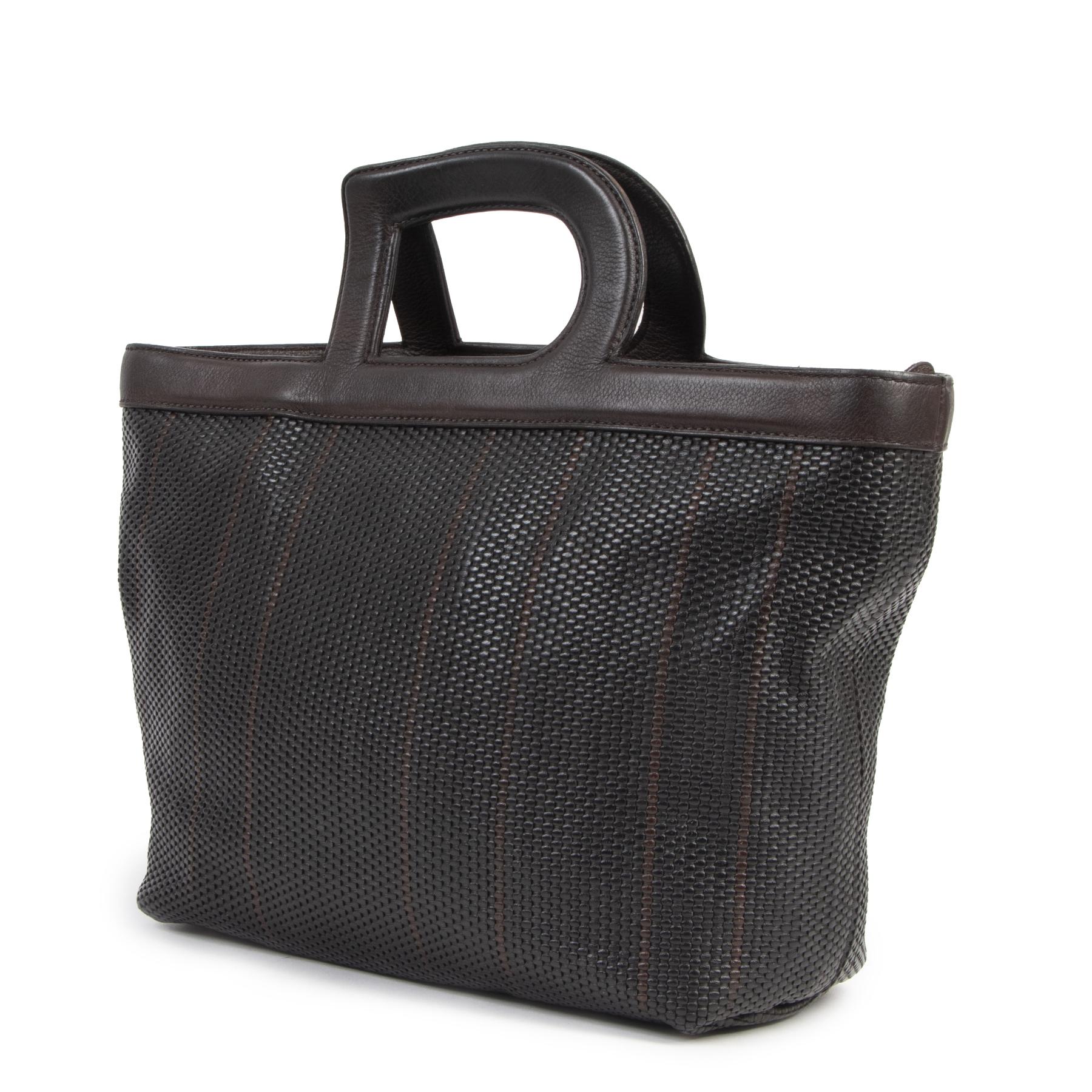 Authentique seconde-main vintage Delvaux Toile De Cuir Hand Bag achète en ligne webshop LabelLOV