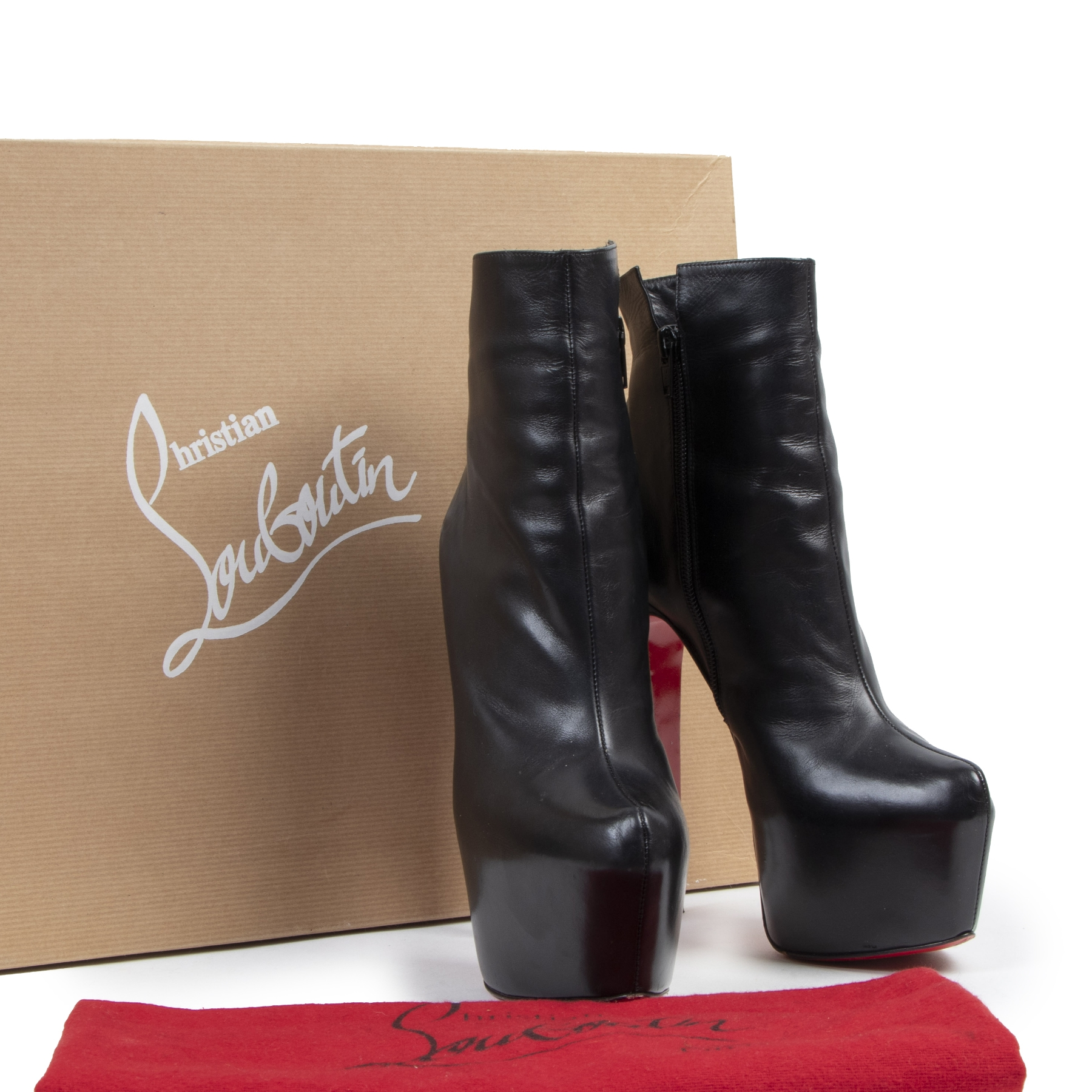 Authentic secondhand Christian Louboutin Daffodile Platform Ankle Boots - Size 38 designer shoes pumps luxury vintage webshop fashion designer brands