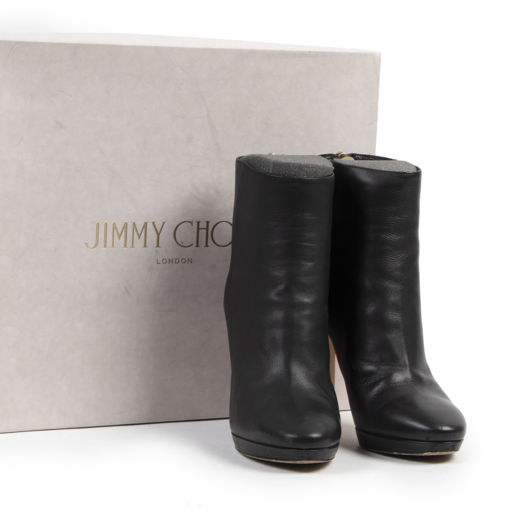 Authentic secondhand Jimmy Choo Harvey 100 Black Leather Ankle Boots - Size 36,5  designer shoes fashion luxury vintage webshop