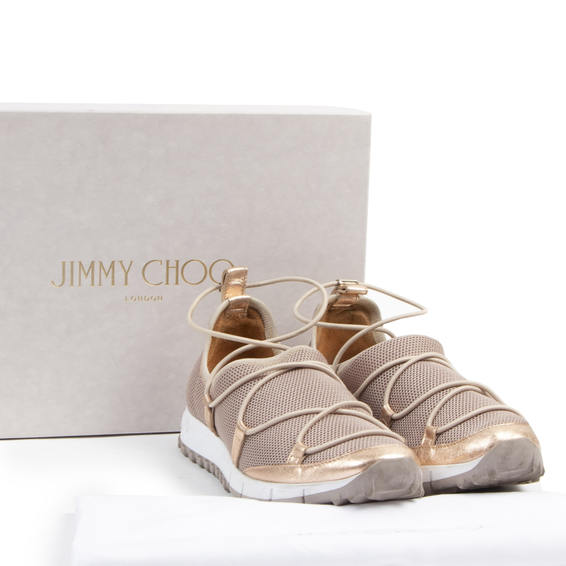 Authentic secondhand Jimmy Choo Nude Slip-On Sneaker - Size 36 designer sneakers fashion luxury vintage webshop