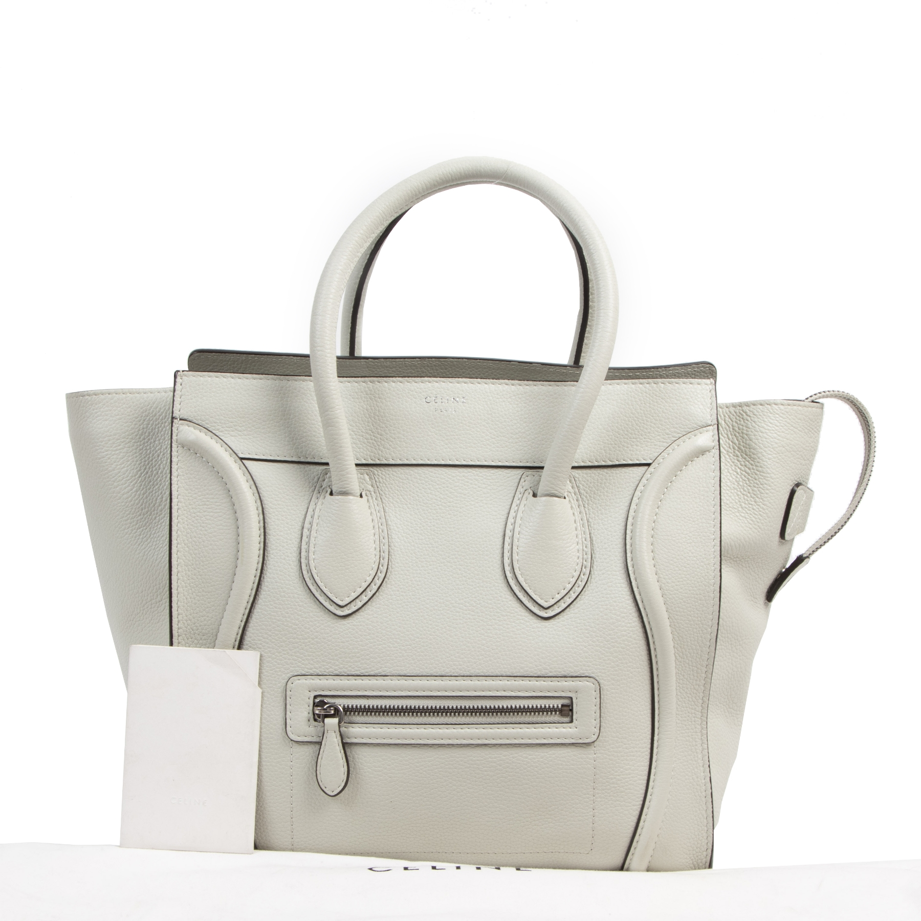 Authentieke tweedehands vintage Celine Grey Leather Luggage Tote koop online webshop LabelLOV