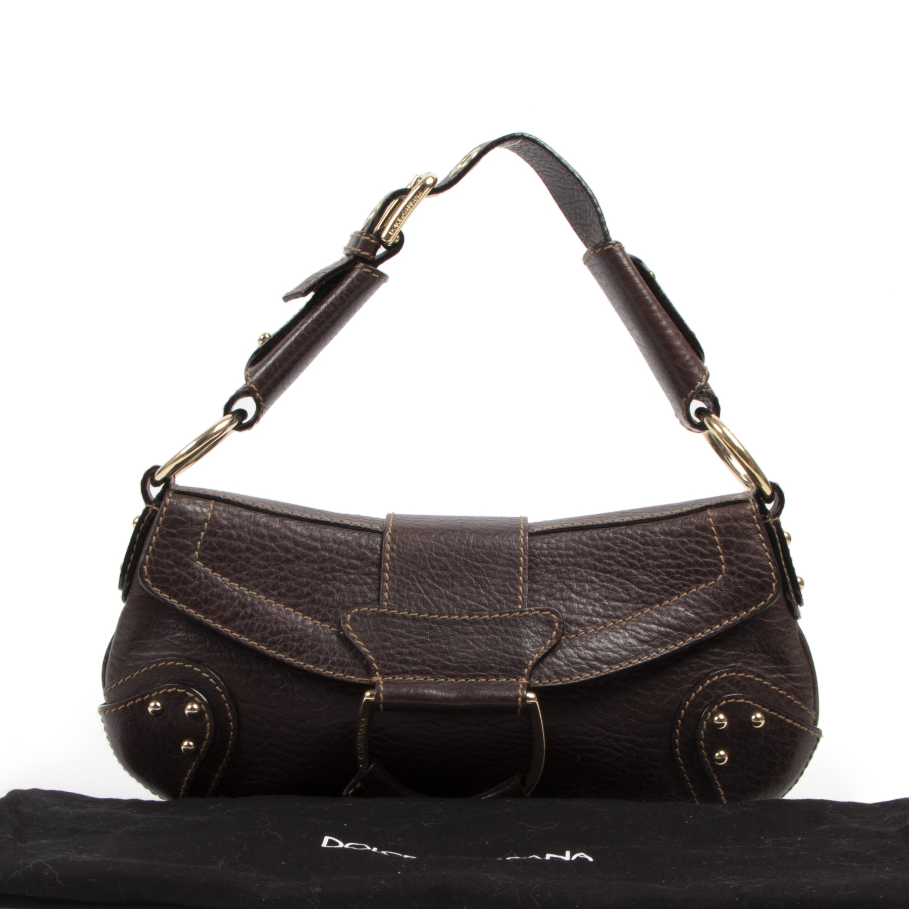 Authentieke tweedehands vintage Dolce & Gabbana D Ring Saddle Brown Leather Shoulder Bag koop online webshop LabelLOV