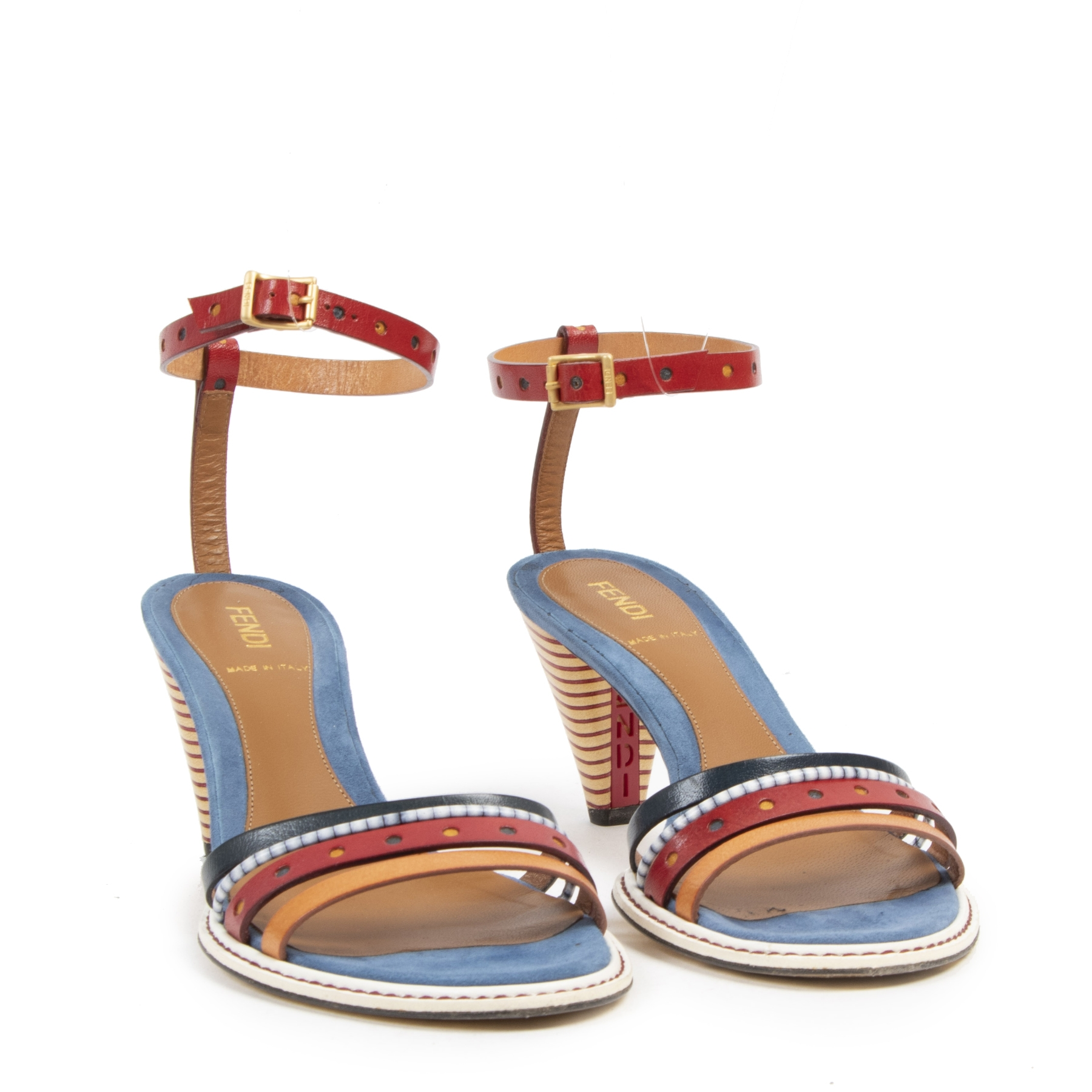 Authentieke tweedehands vintage Fendi Strappy Heeled Sandals - Size 37 koop online webshop LabelLOV