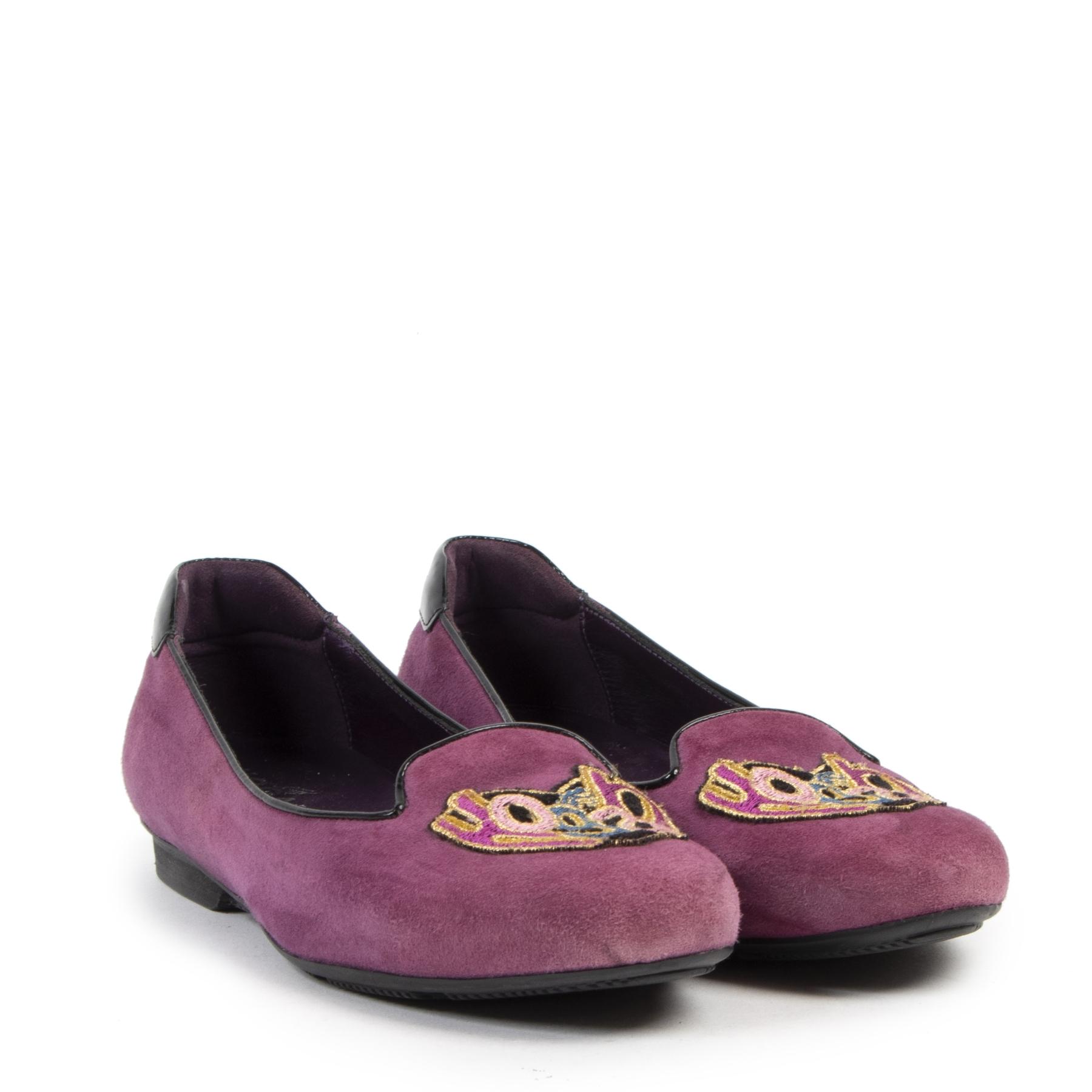 Authentieke tweedehands vintage Hogan Purple Suede Ballet Flats - Size 36 koop online webshop LabelLOV
