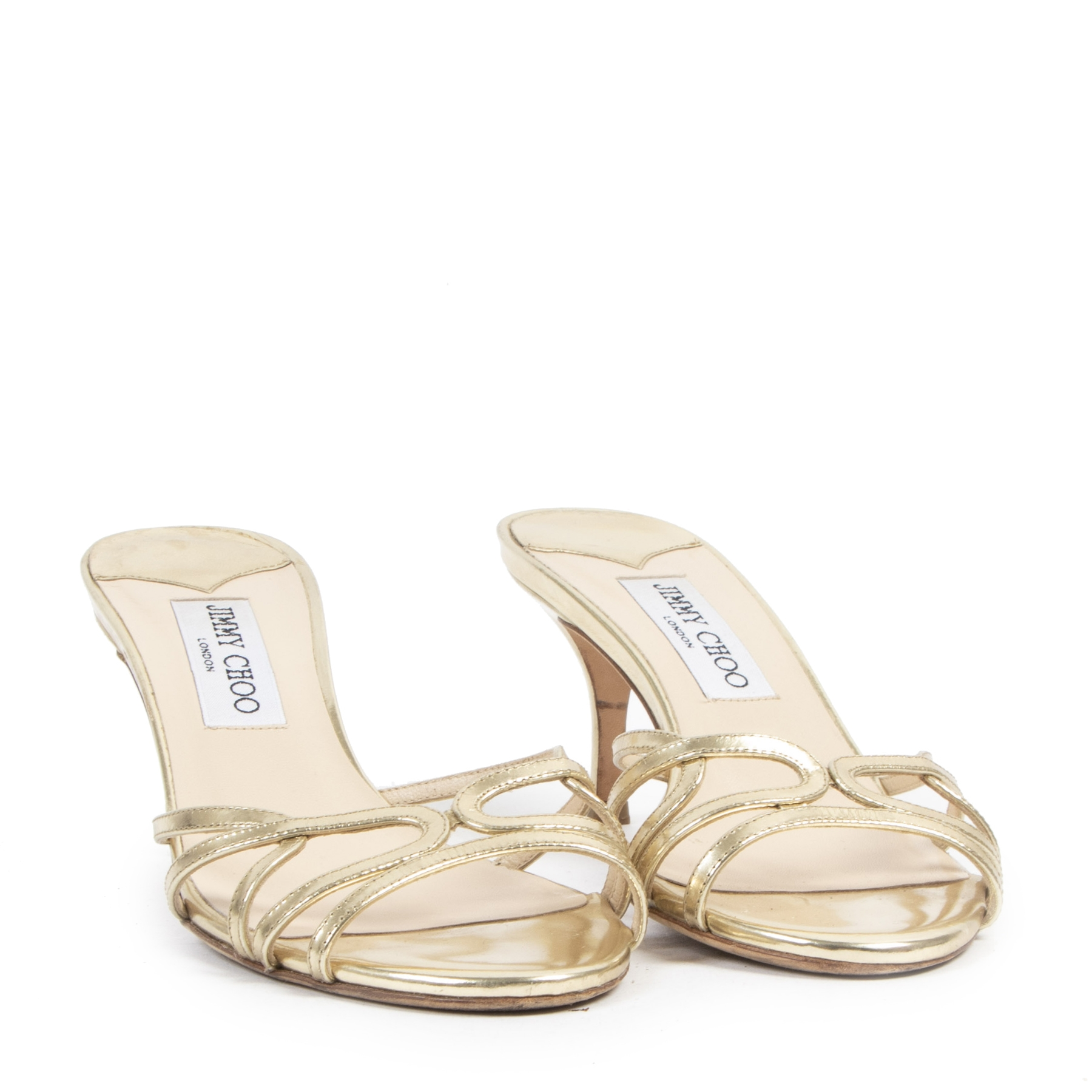 Authentic secondhand Jimmy Choo Gold Heeled Sandals - Size 37 designer shoes fashion luxury vintage webshop safe secure online shopping