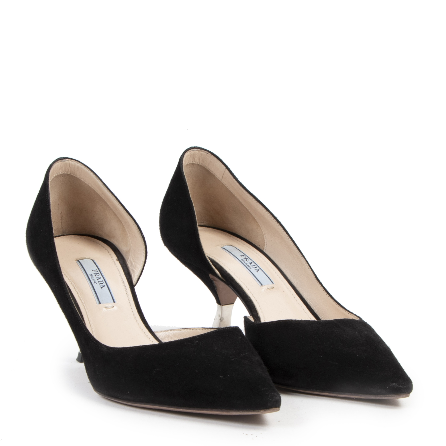 Authentique seconde-main vintage Prada Black Suede Heels - Size 37,5 achète en ligne webshop LabelLOV