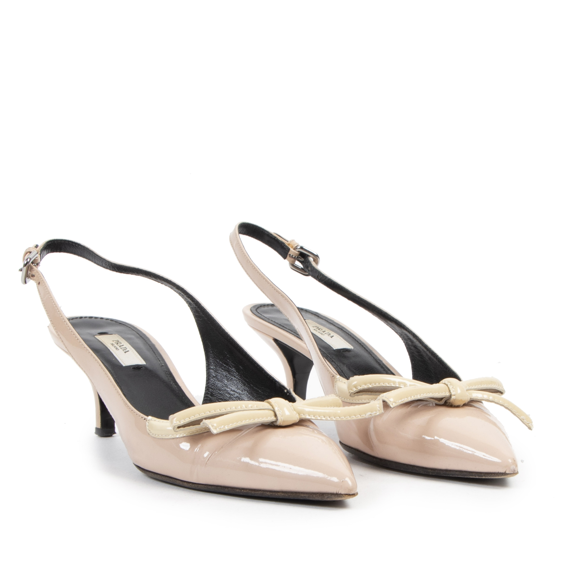 Authentic secondhand Prada Nude Leather Strap Kitten Heels - Size 37,5 designer bags fashion luxury vintage webshop
