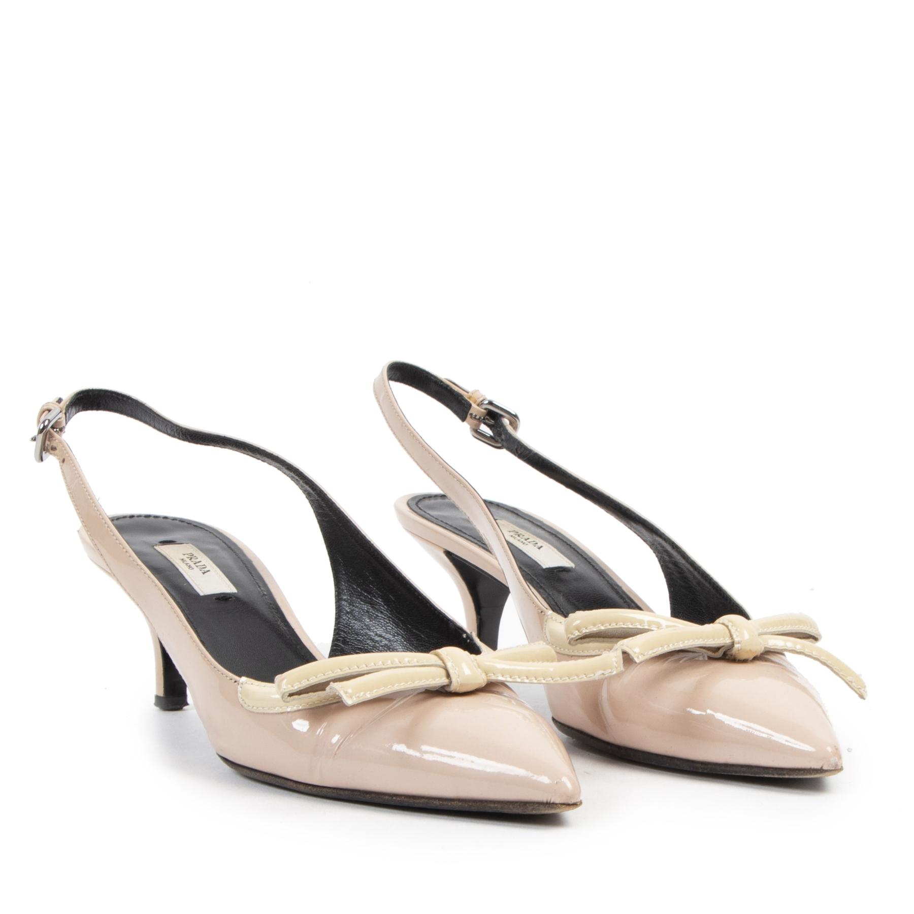 Authentic secondhand Prada Nude Leather Strap Kitten Heels - Size 37,5 designer bags fashion luxury vintage webshop