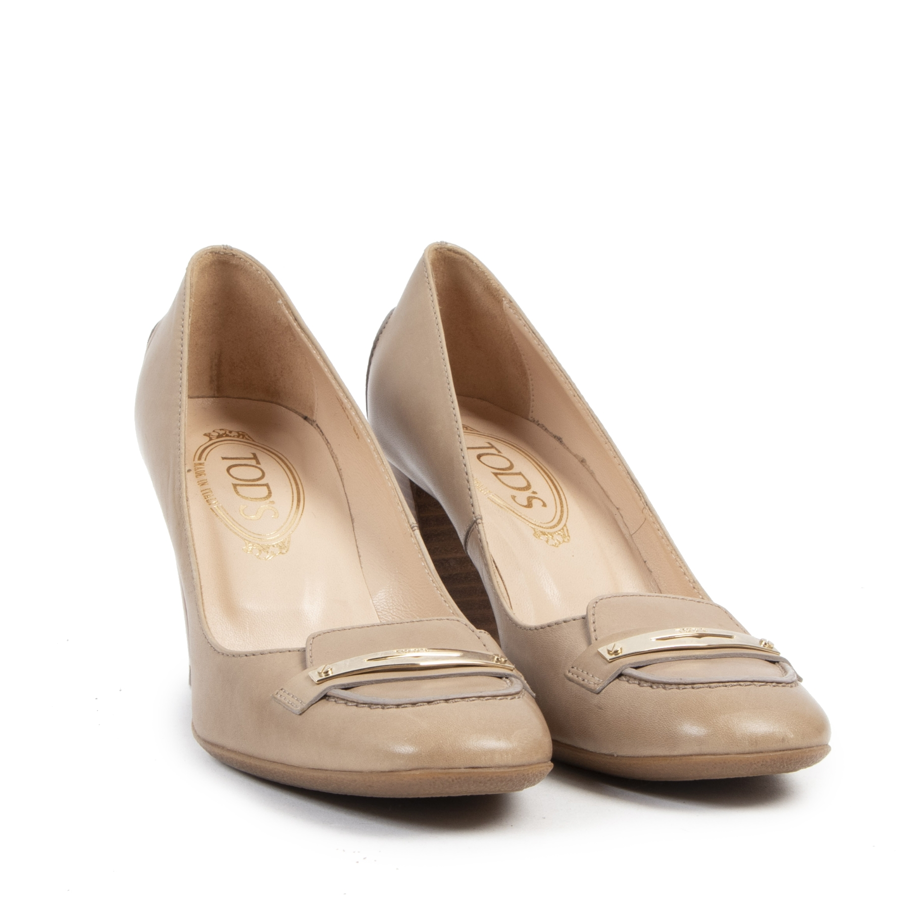 Authentieke tweedehands vintage Tod's Beige Loafer Pumps - Size 37 koop online webshop LabelLOV