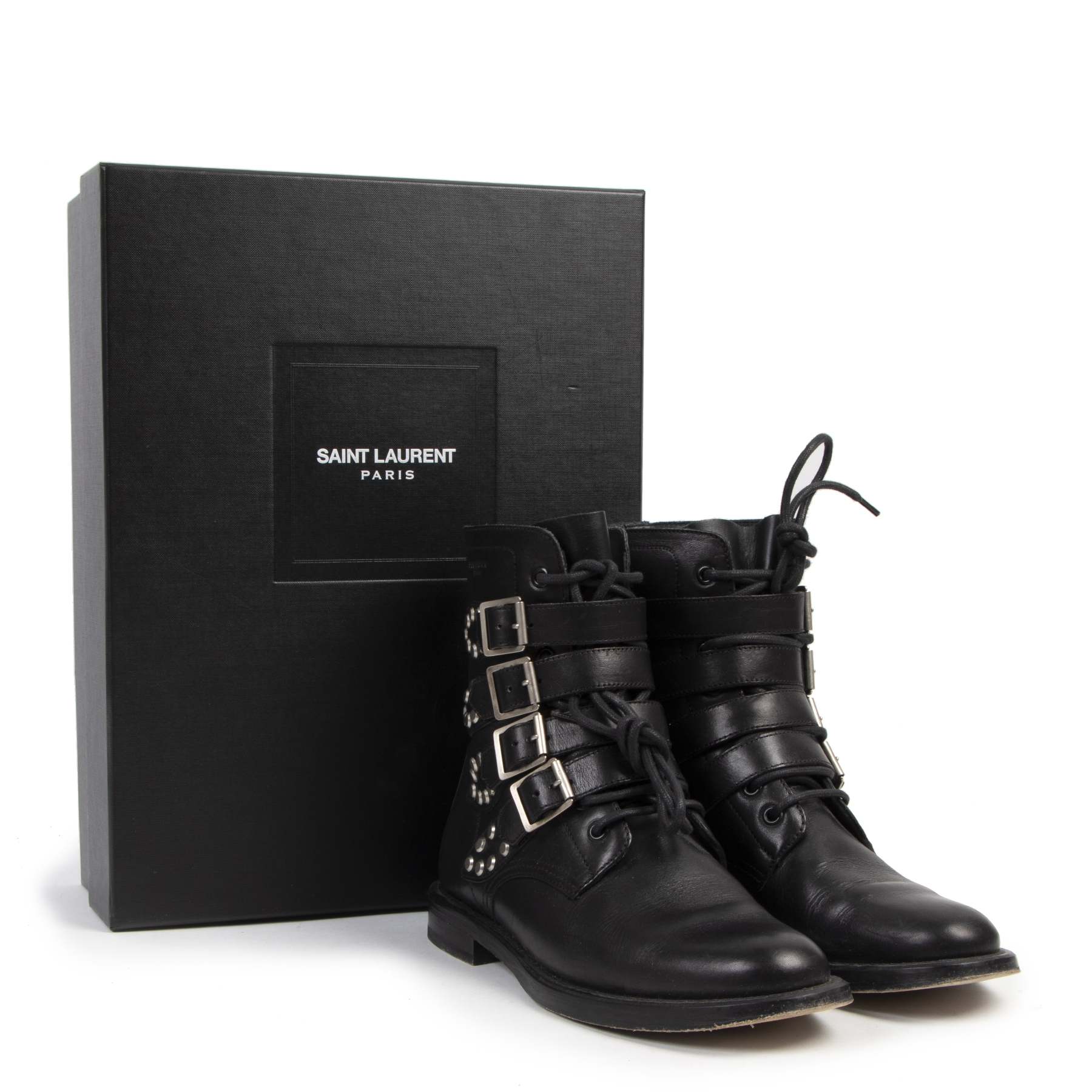 Authentique seconde-main vintage Yves Saint Laurent Black Leather Biker Boots - Size 39 achète en ligne webshop LabelLOV