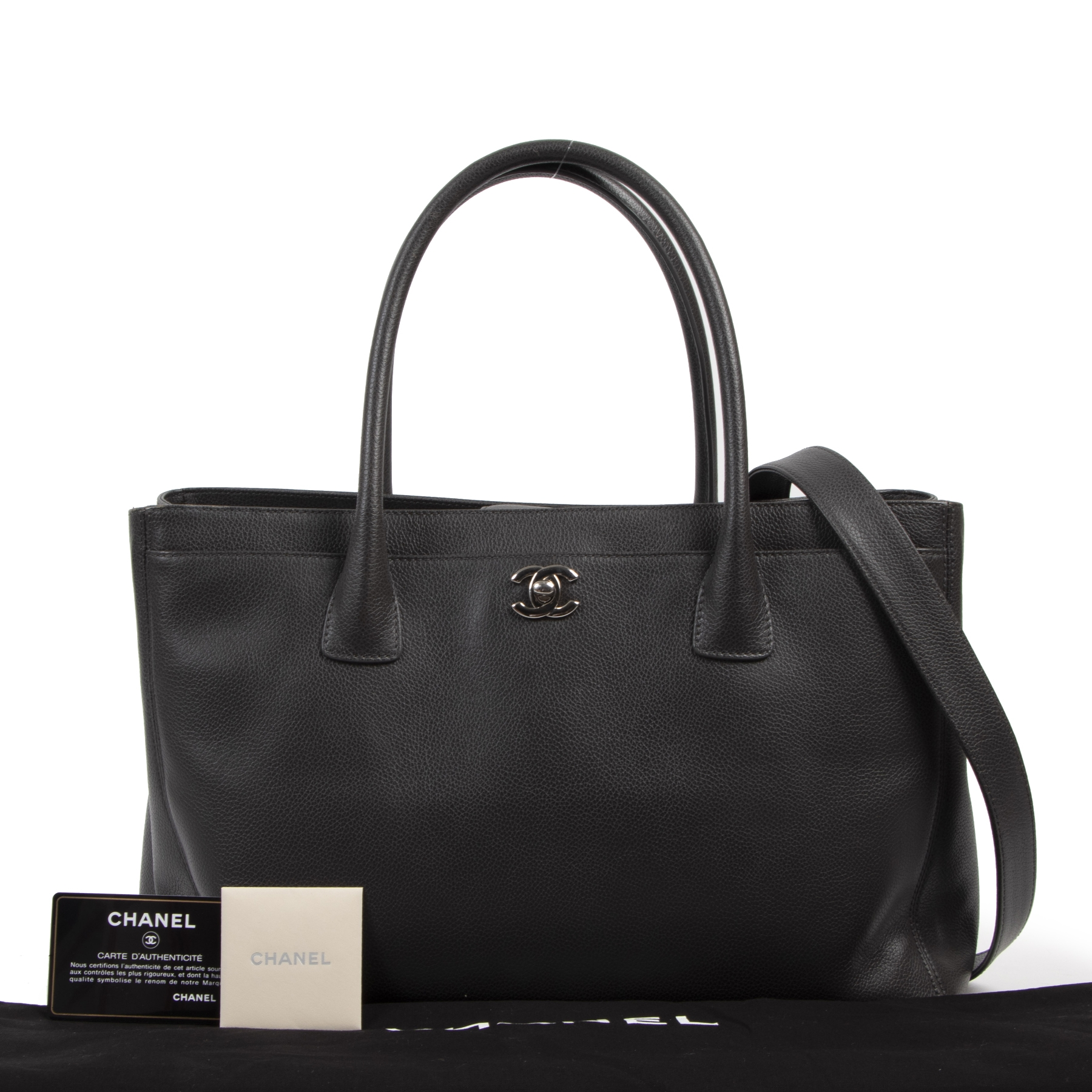Authentieke tweedehands vintage Chanel Dark Grey Executive Cerf Tote Bag koop online webshop LabelLOV