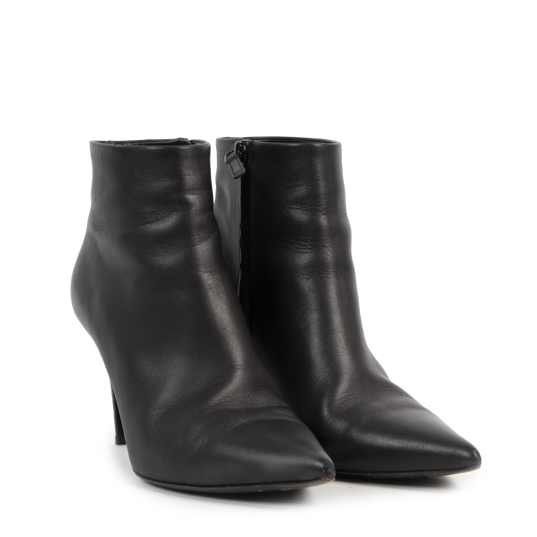 Authentique seconde-main vintage Balenciaga Black Leather Ankle Boots - Size 39,5 achète en ligne webshop LabelLOV