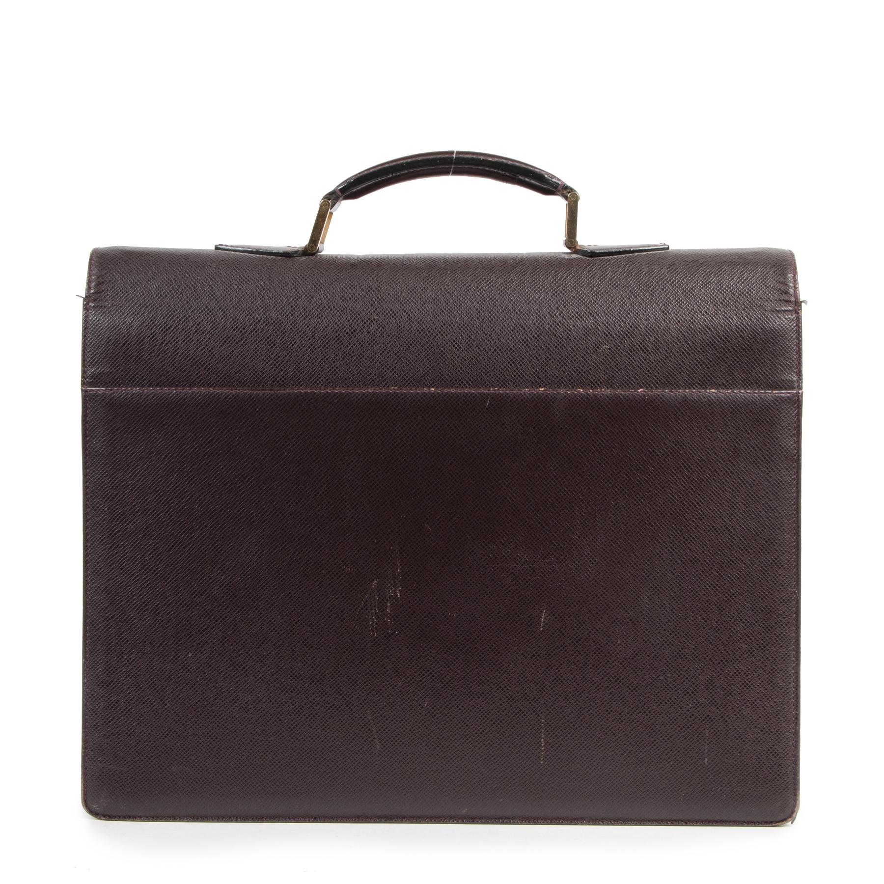 Authentieke Tweedehands Louis Vuitton Burgundy Leather Moskova Acajou Briefcase juiste prijs veilig online shoppen luxe merken webshop winkelen Antwerpen België mode fashion