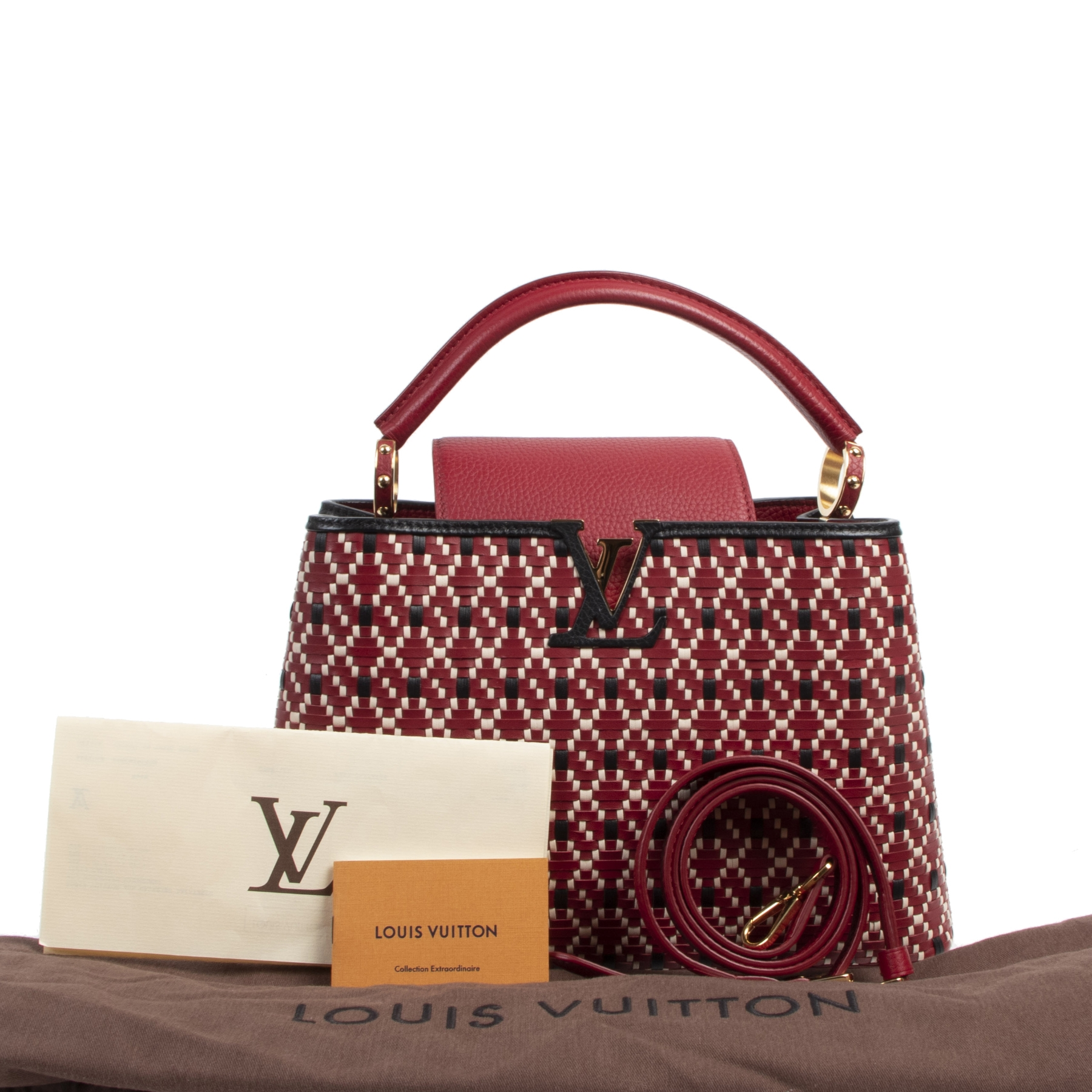 Buy and sell your authentic Louis Vuitton Capucines PM Twiny Rouge Bag