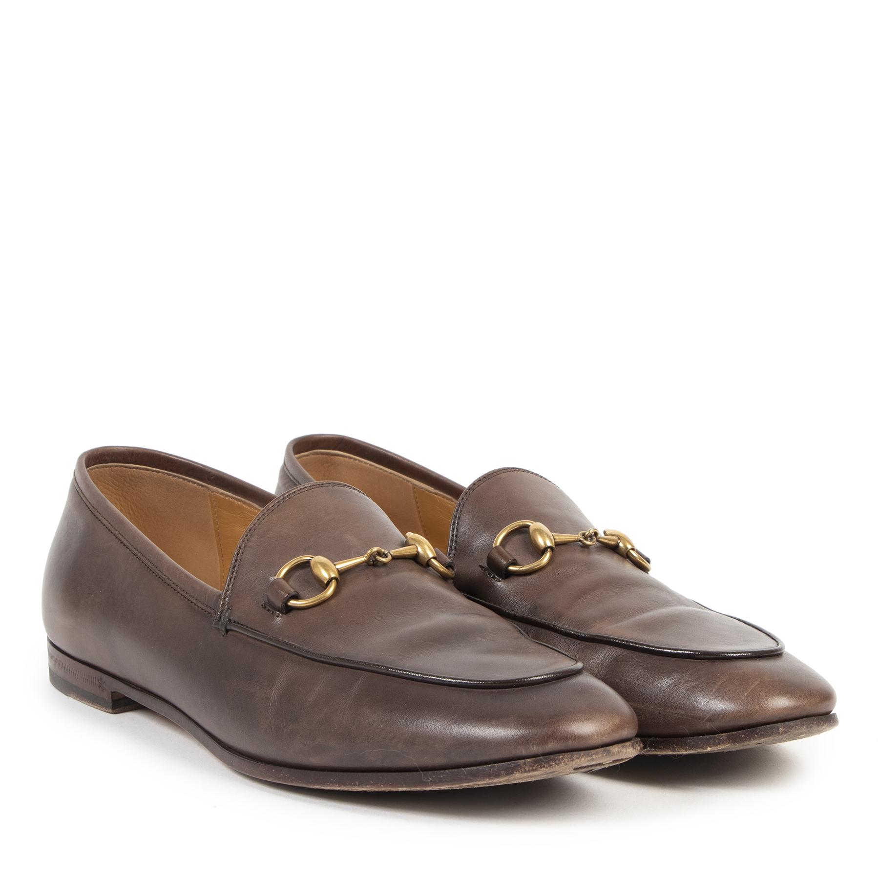 Authentic secondhand Gucci Brown Leather Horsebit Loafers - Size 37,5 designer shoes fashion luxury vintage webshop safe secure online shopping