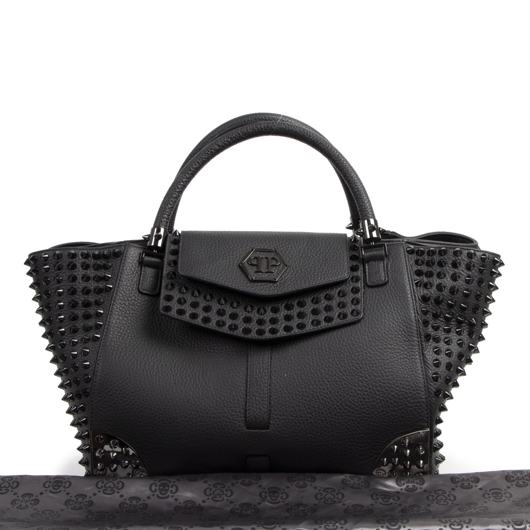 Philipp Plein Black Leather Shell Studded Bag