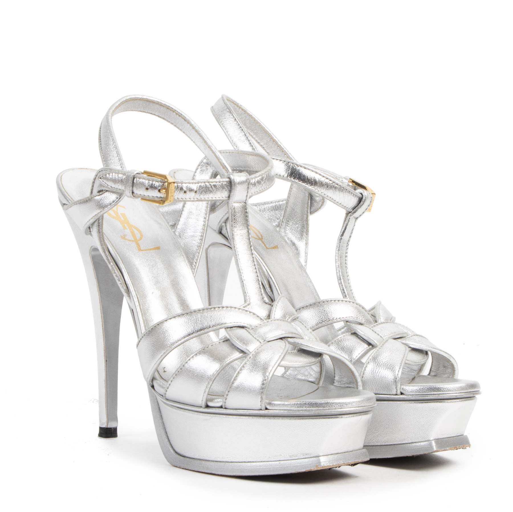 Yves Saint Laurent Silver Metallic Tribute Platform Sandals