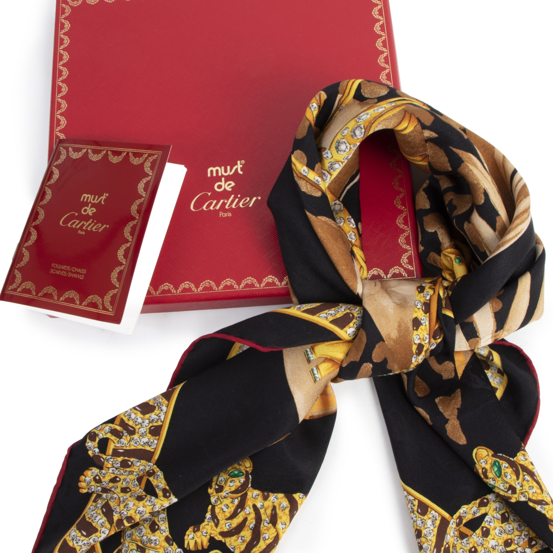 Authentieke Tweedehands Cartier Giraffe Safari Silk Scarf juiste prijs veilig online shoppen luxe merken webshop winkelen Antwerpen België mode fashion