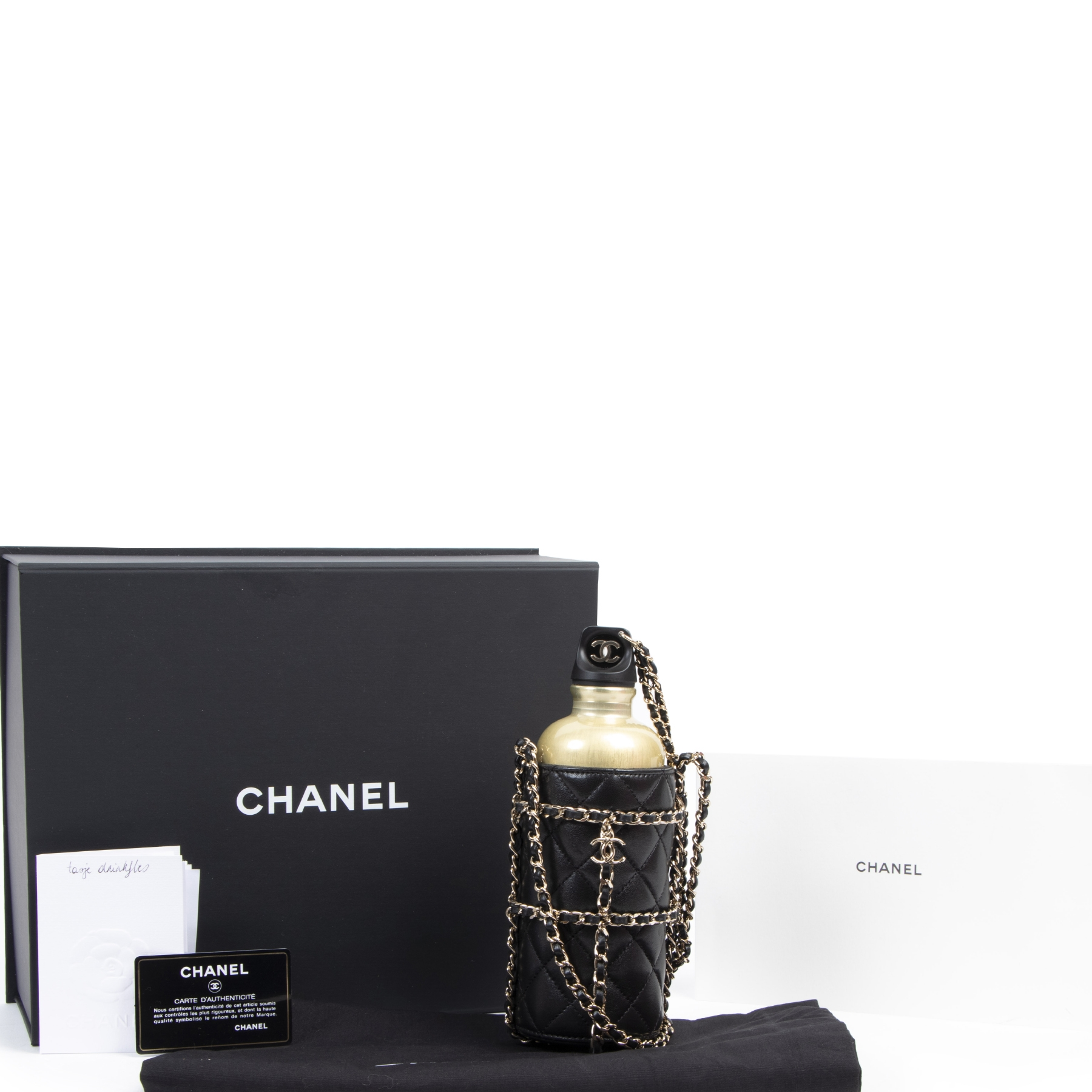 Chanel Black Gold Leather Bottle Bag for the best price at Labellov