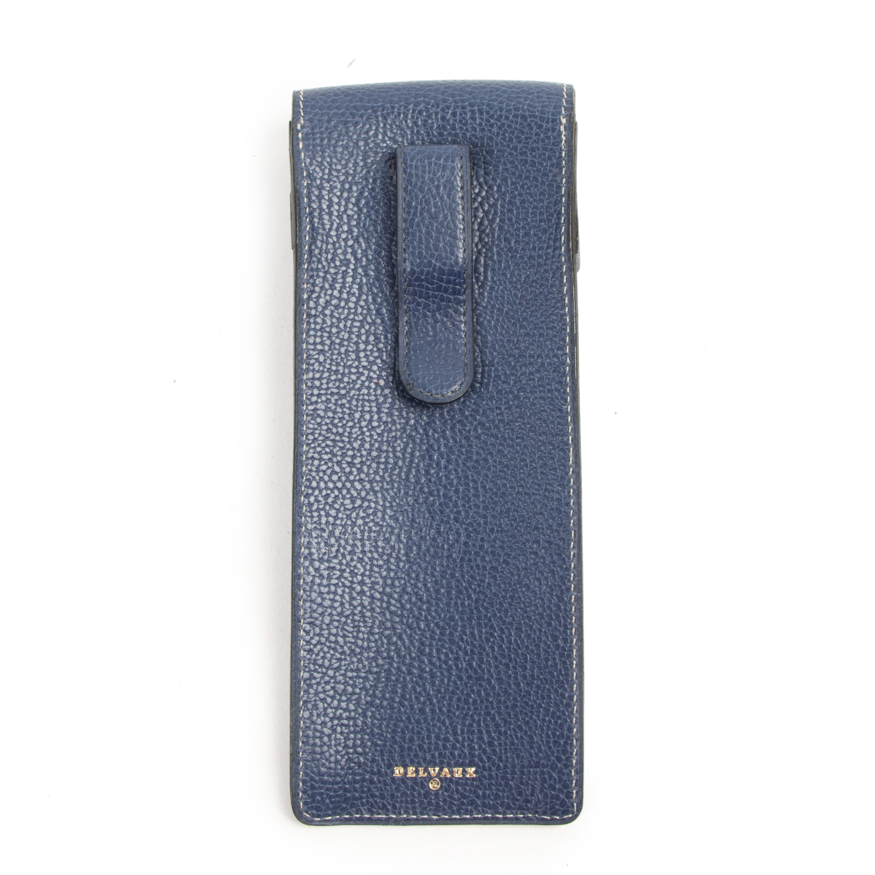 Authentieke tweedehands vintage Delvaux Blue Leather Pencil Case koop online webshop LabelLOV