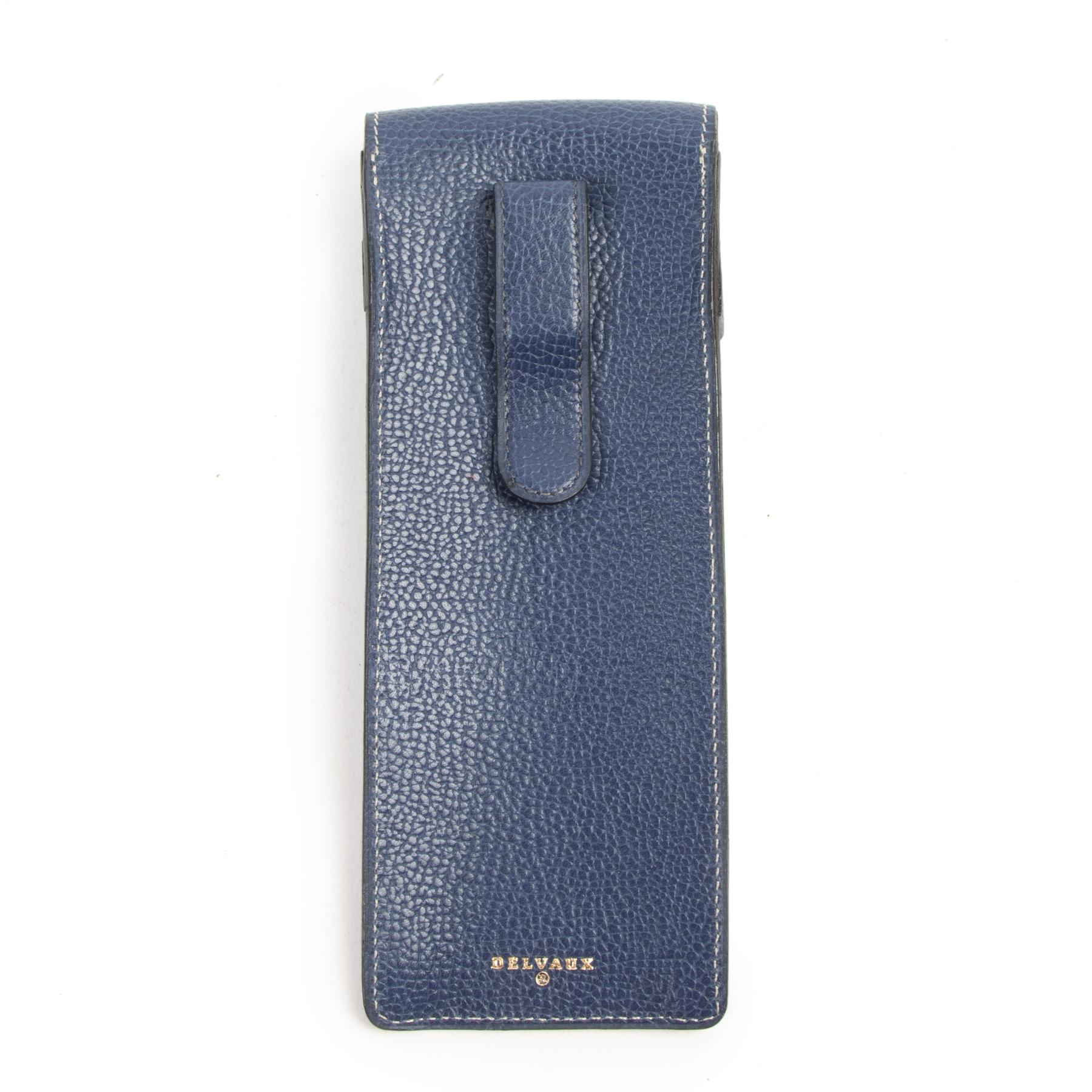 Authentieke tweedehands vintage Delvaux Blue Leather Pencil Case koop online webshop LabelLOV