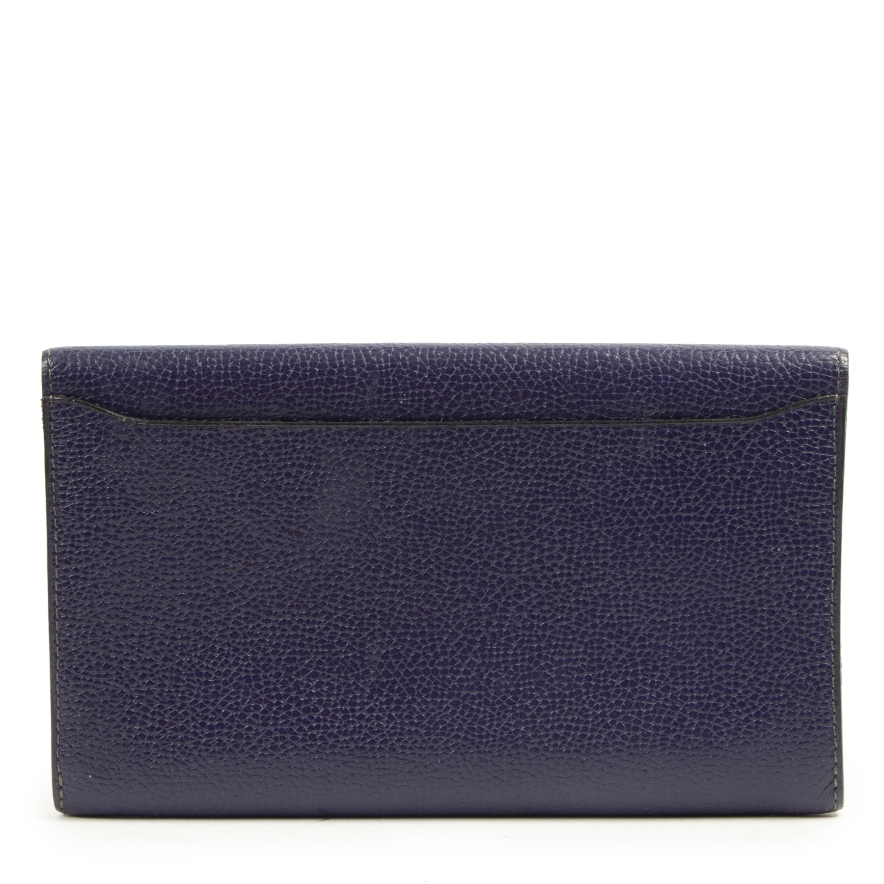Authentic second-hand vintage Delvaux Blue Purple Leather Wallet buy online webshop LabelLOV