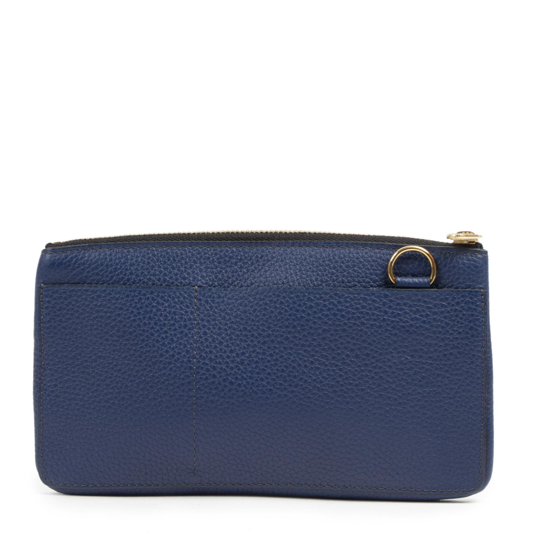 Authentieke tweedehands vintage Delvaux Blue Leather Pouch koop online webshop LabelLOV