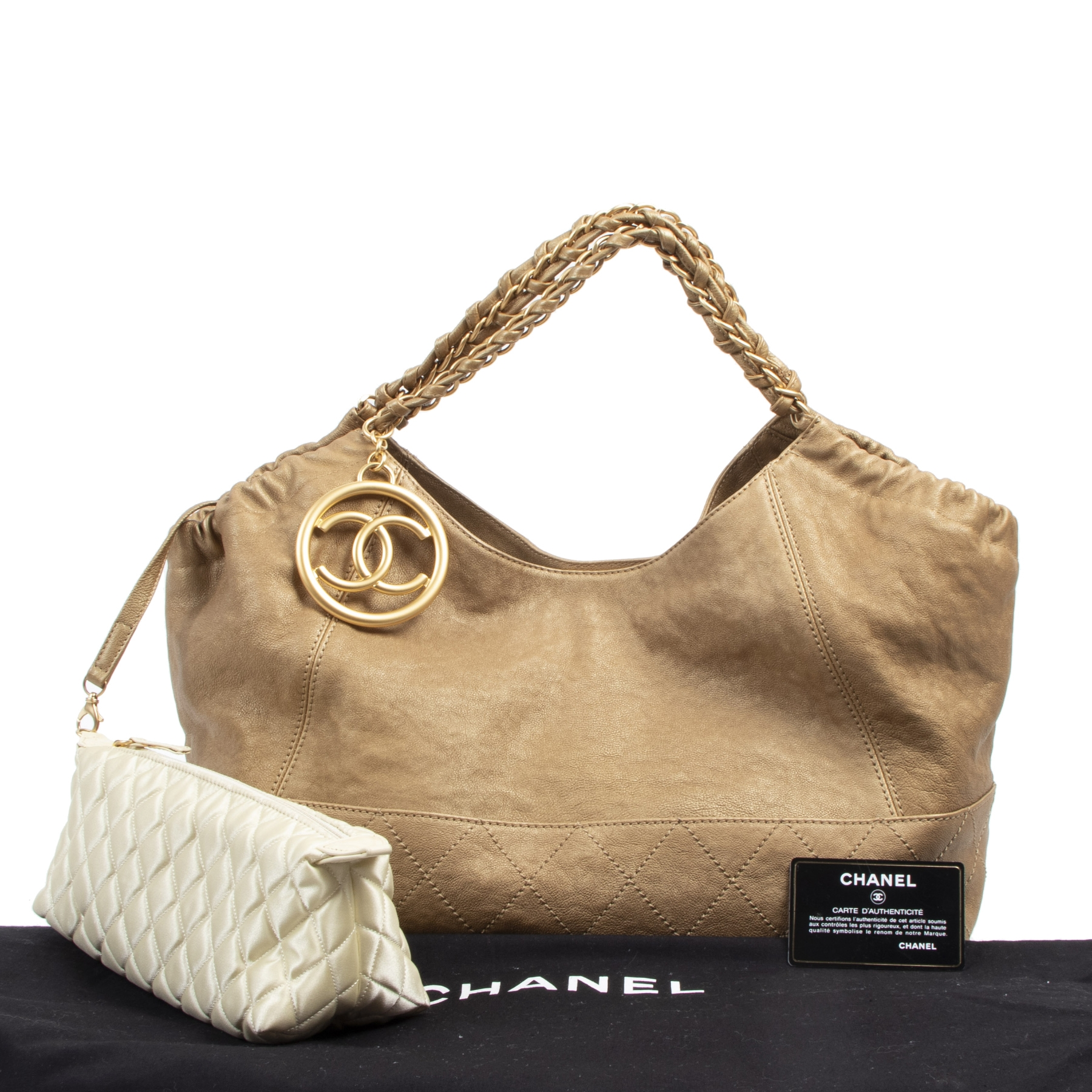Authentieke tweedehands vintage Chanel Coco Cabas Gold Leather Bag koop online webshop LabelLOV