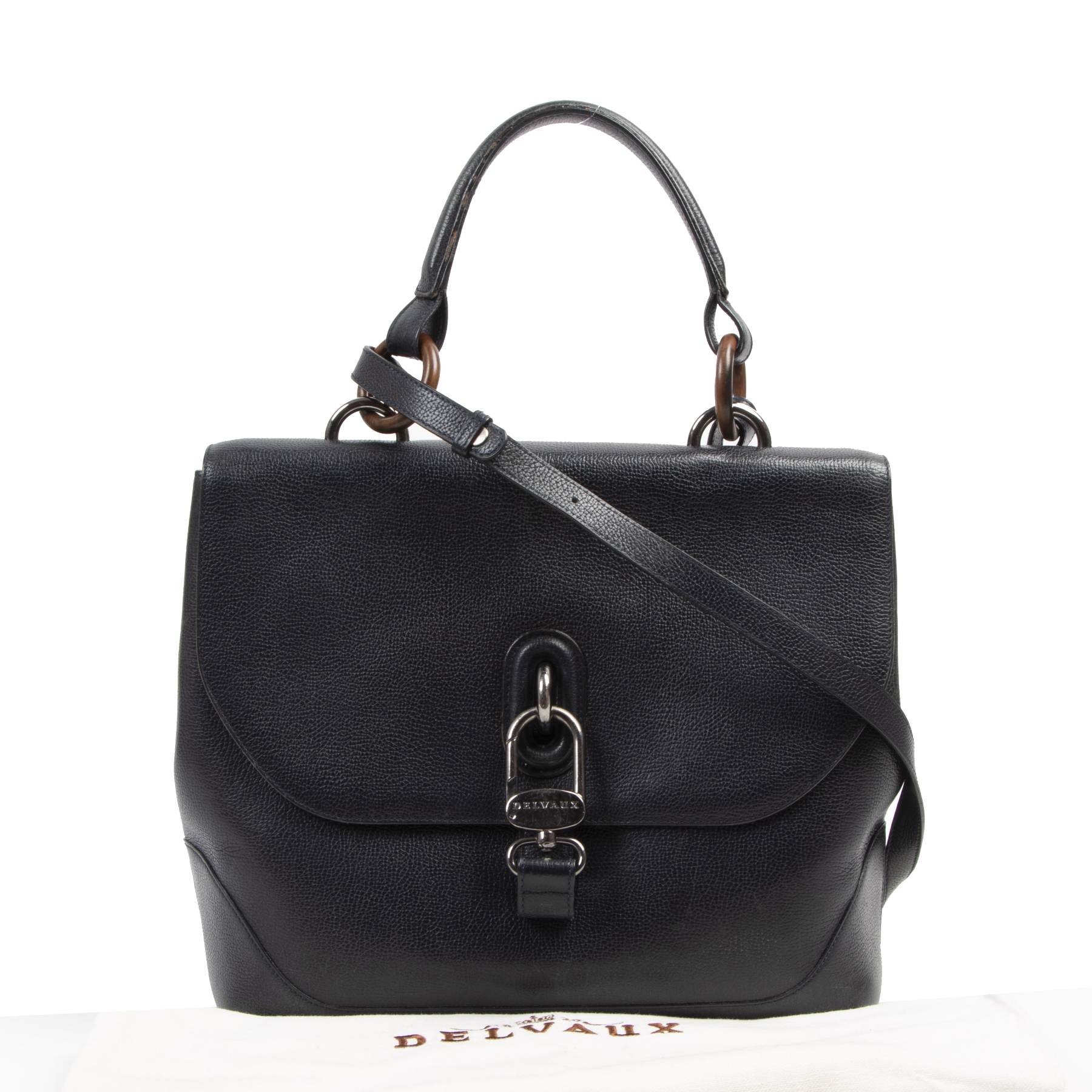 We buy and sell your authentic designer Delvaux Black Leather Top Handle Bag