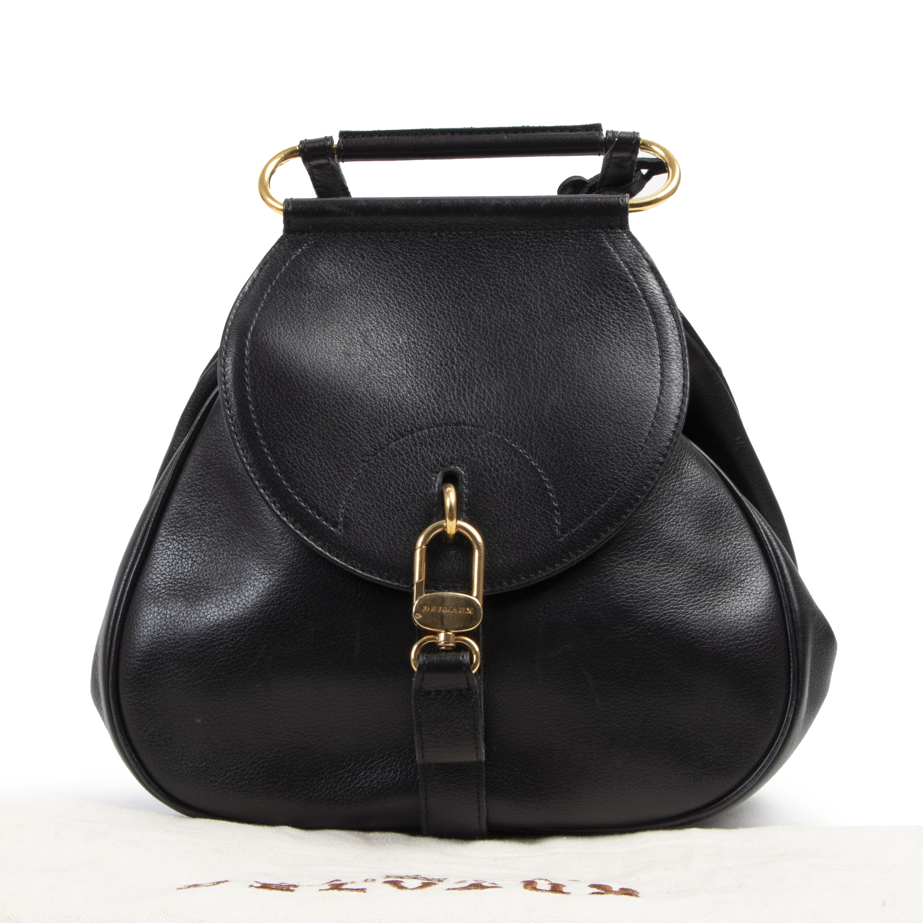 Authentieke tweedehands vintage Delvaux Black Cerceau PM Jumping Bag  koop online webshop LabelLOV