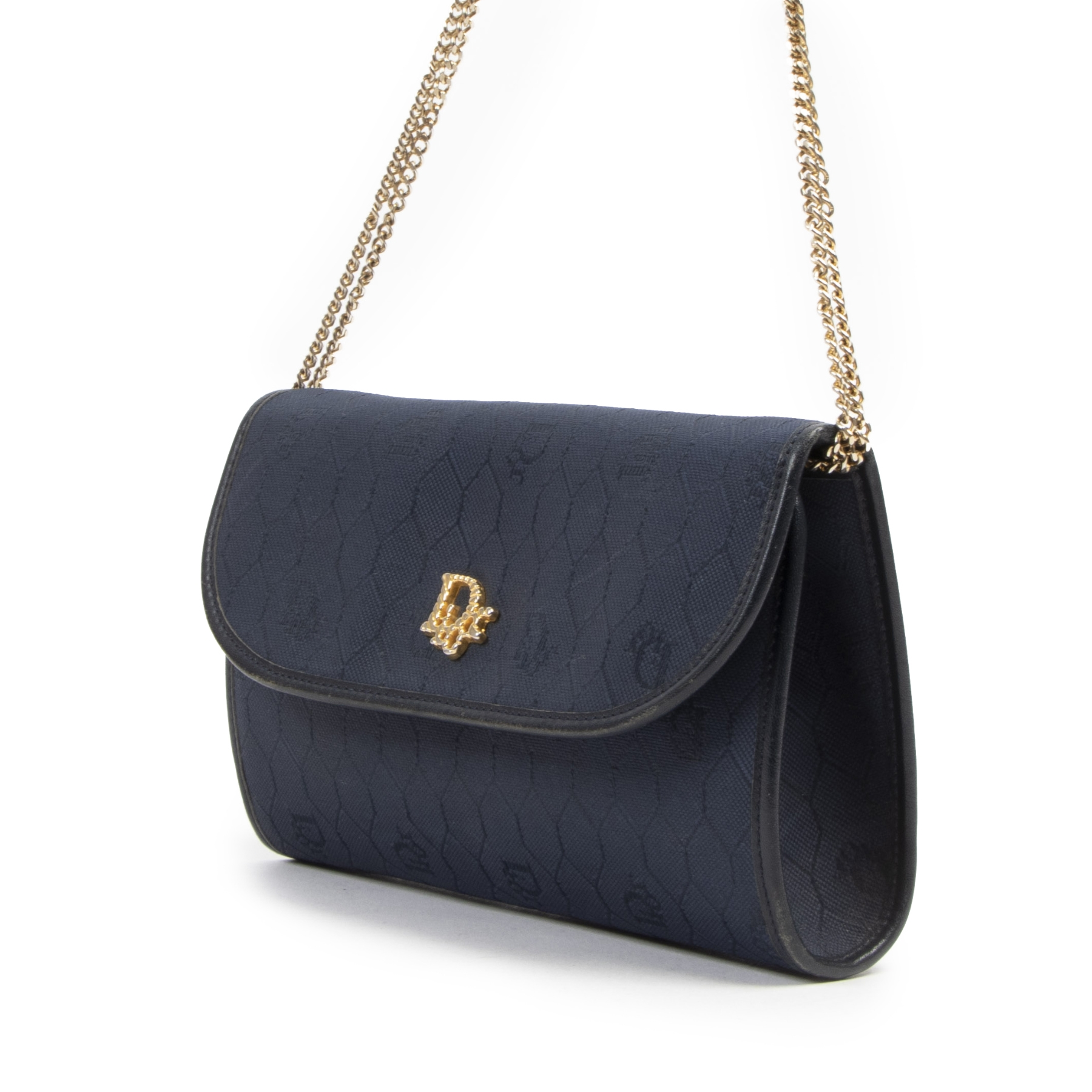 Authentieke tweedehands vintage Christian Dior Honeycomb Navy Canvas Chain Crossbody Bag koop online webshop LabelLOV