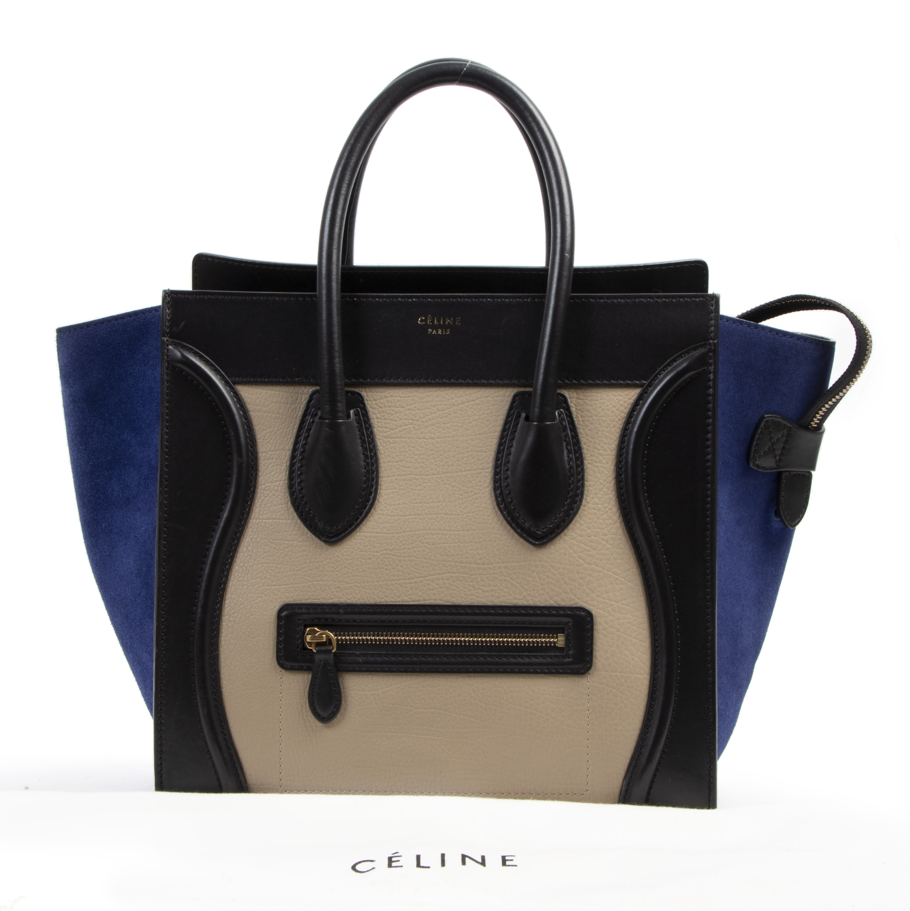 Authentieke tweedehands vintage Céline Tricolor Luggage Handbag koop online webshop LabelLOV