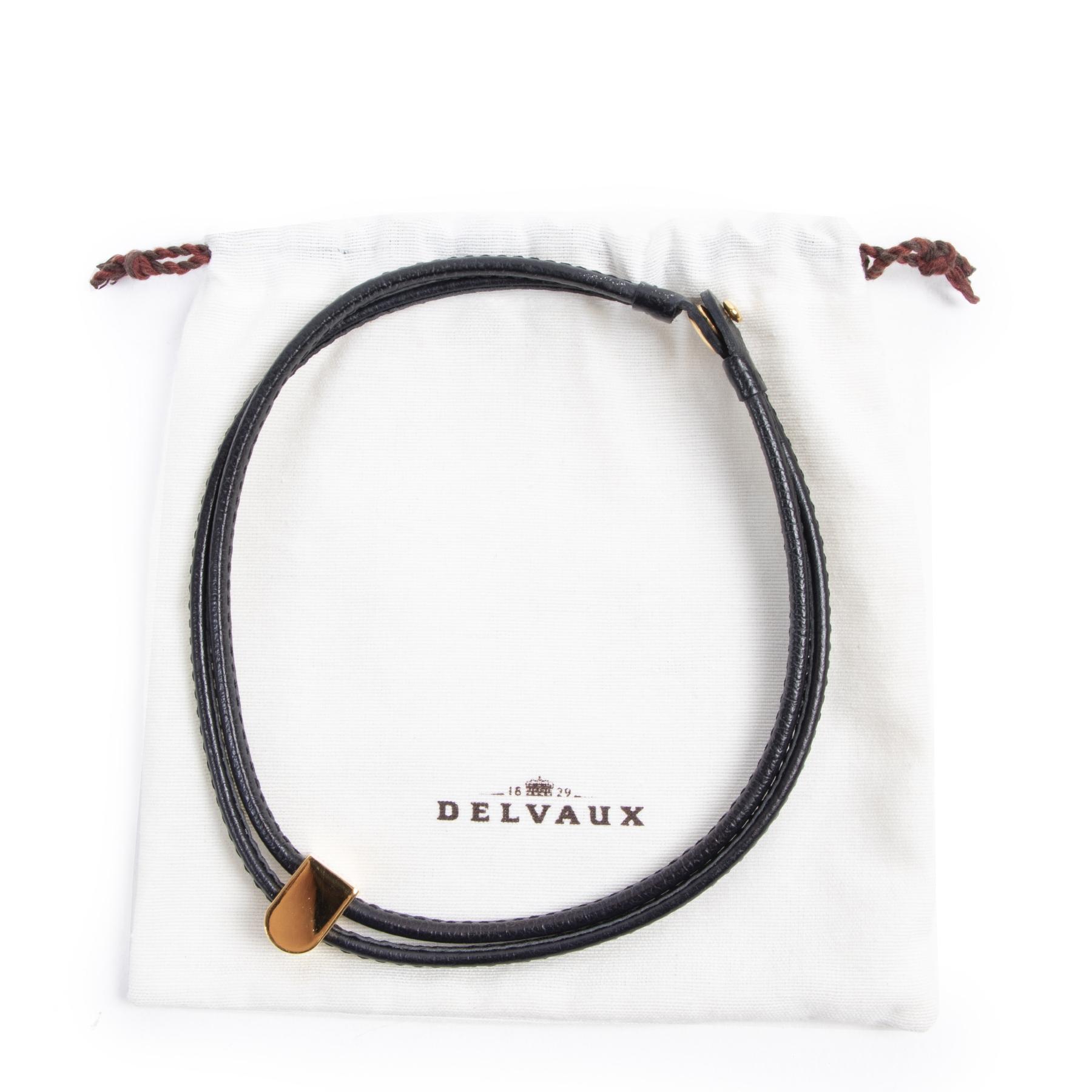 Authentic secondhand Delvaux Black Leather D Necklace designer accessories luxury vintage webshop fashion safe secure online shopping