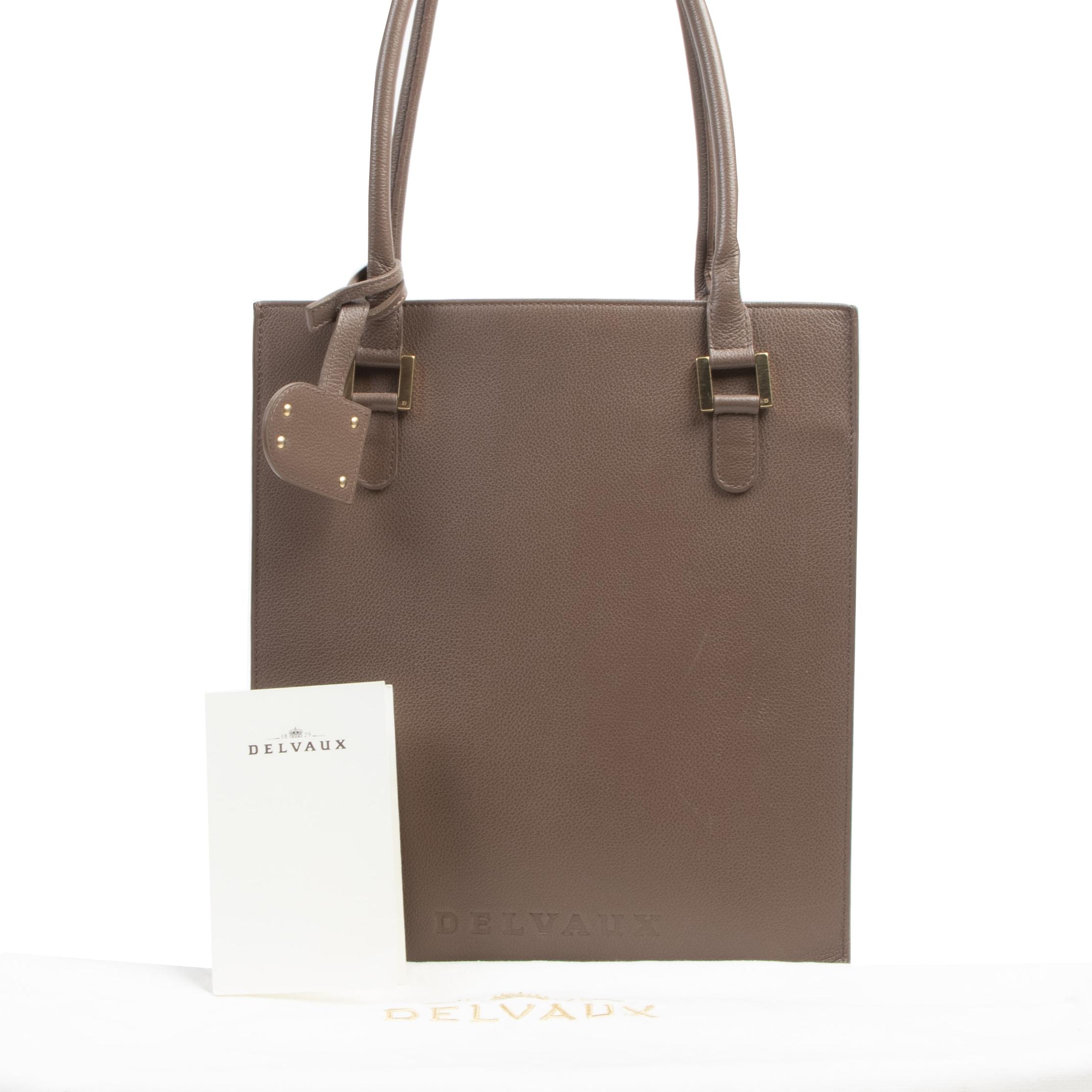 Authentieke tweedehands vintage Delvaux Taupe Le Jeff Tote Bag koop online webshop LabelLOV