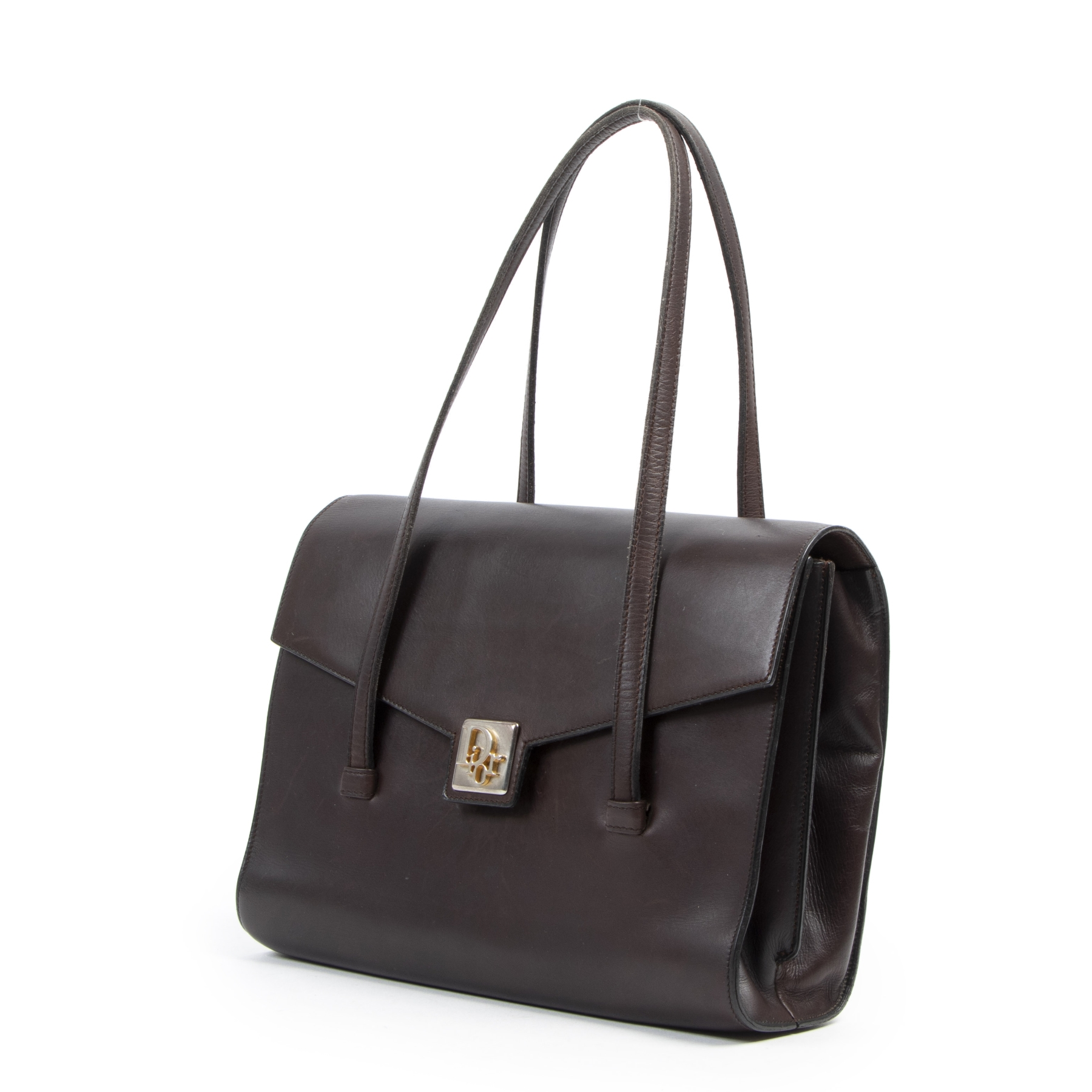acheter en ligne seconde main Dior Brown Box Calf Top Handle Bag