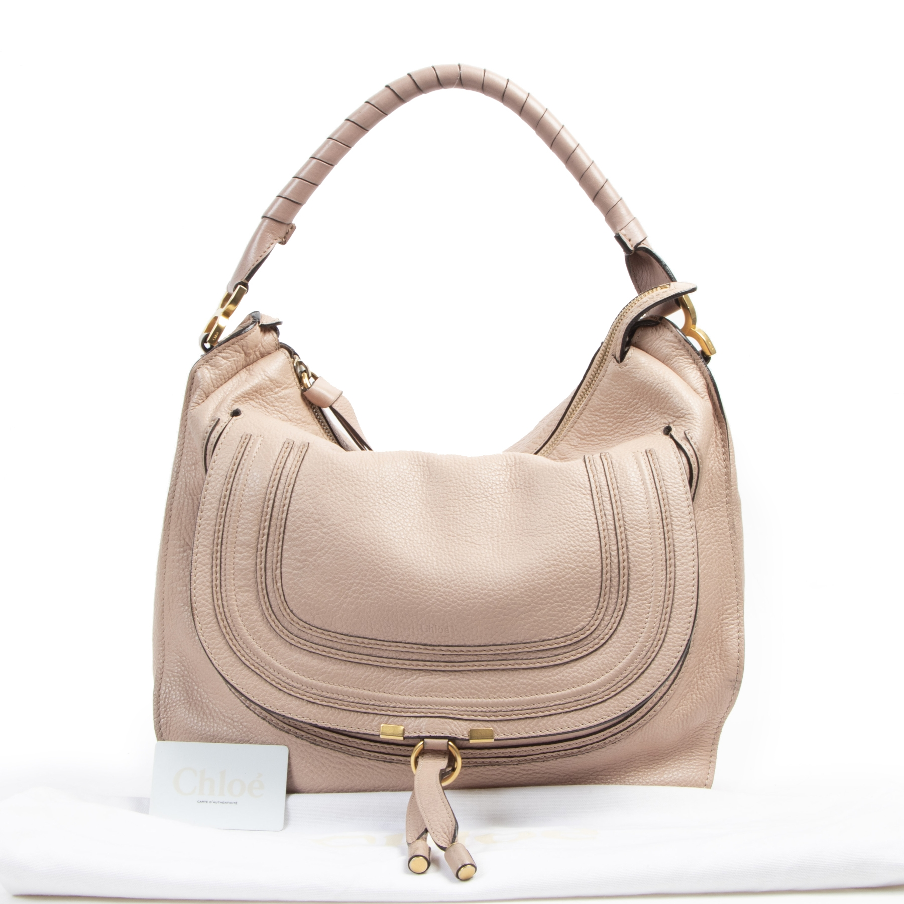 shop safe online Chloe Marcie Medium Tan Pebbled Calfskin Hobo Bag