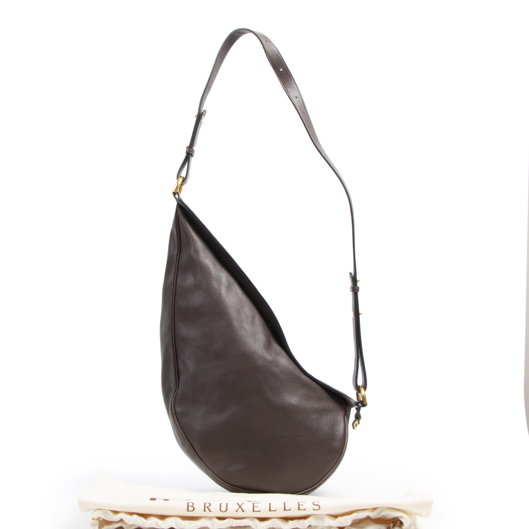 Authentieke tweedehands vintage Delvaux Brown Sling Bag koop online webshop LabelLOV