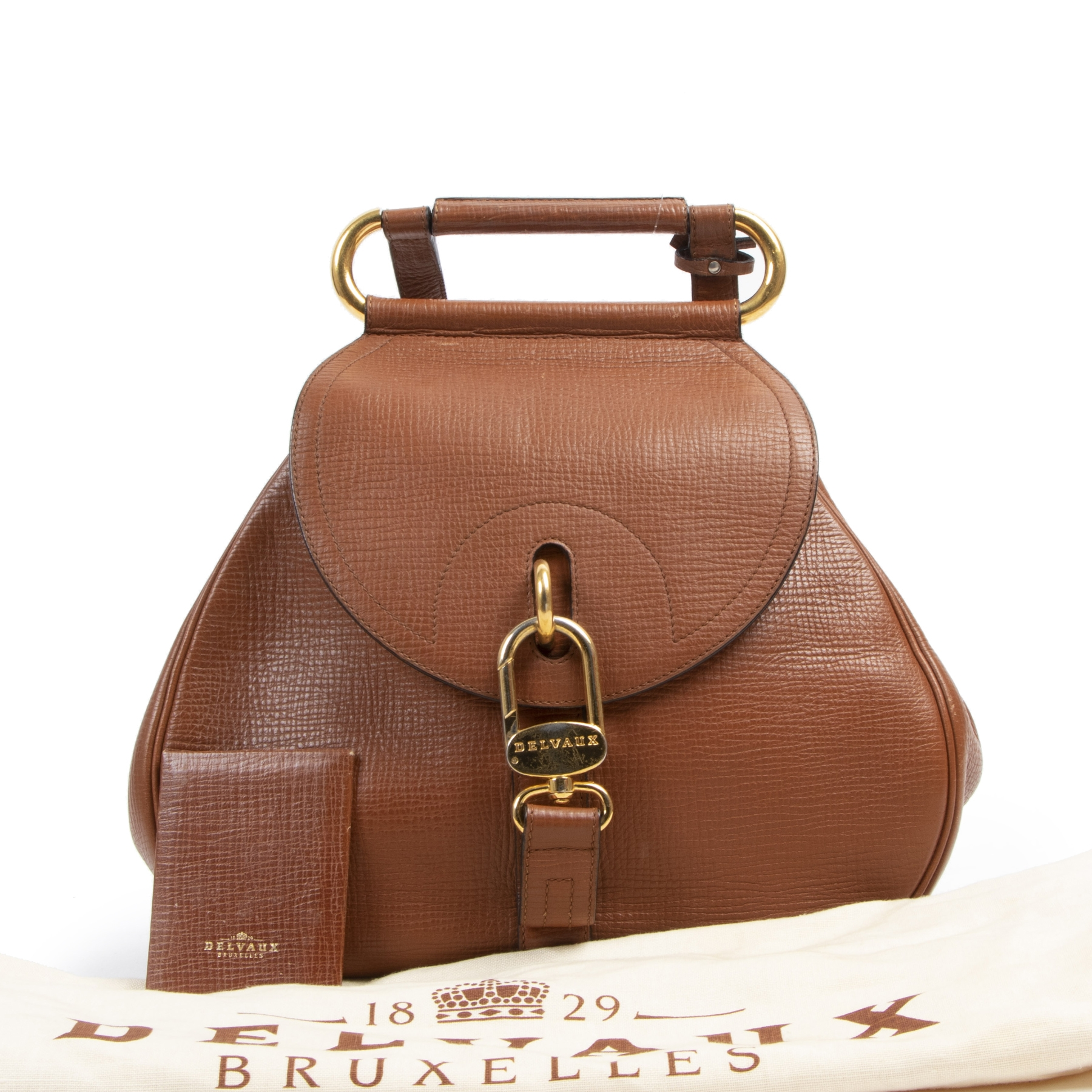 Authentieke tweedehands vintage Delvaux Cognac Cerceau Shoulder Bag koop online webshop LabelLOV