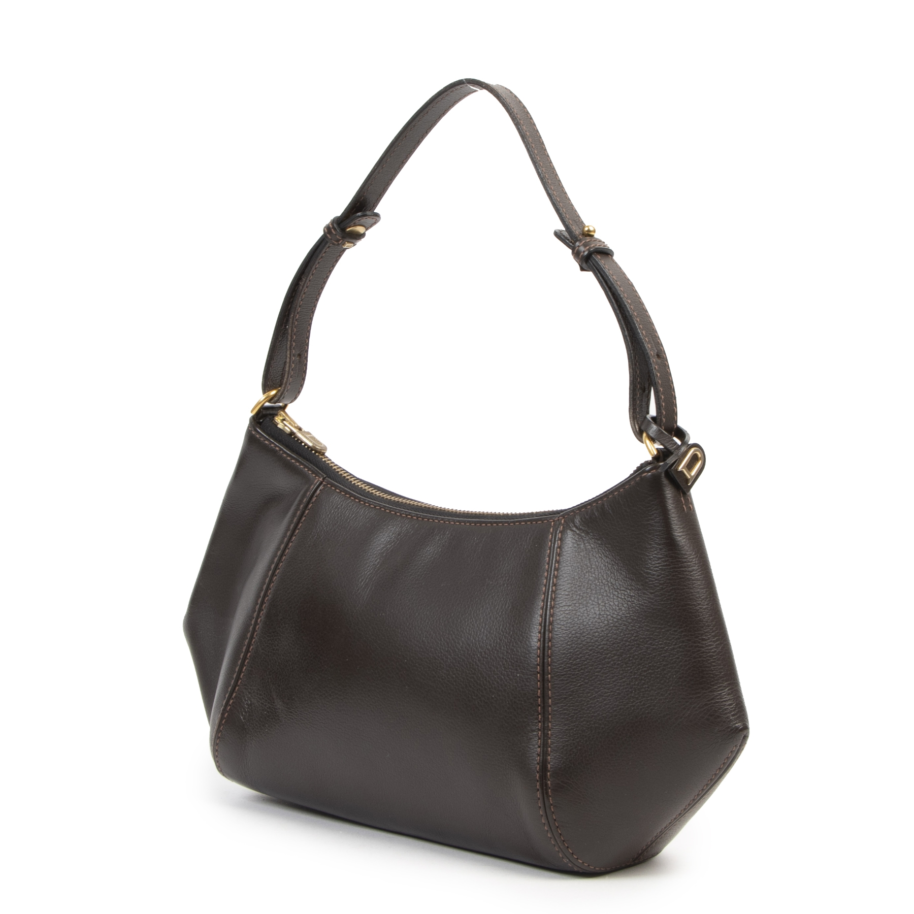 Authentieke tweedehands vintage Delvaux Brown Desir Shoulder Bag koop online webshop LabelLOV