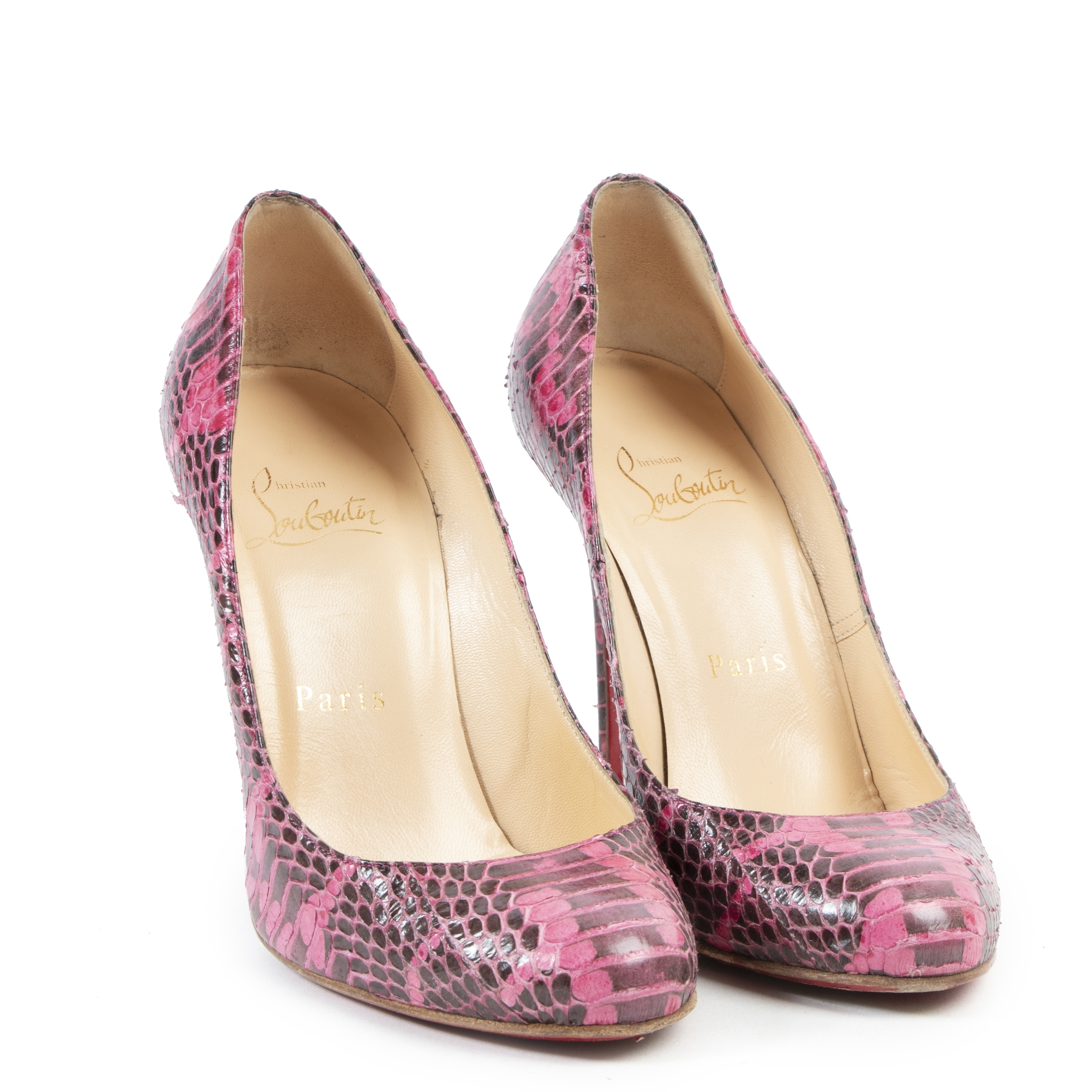 Authentieke Tweedehands Christian Louboutin Pink Python Fifi Pumps - Size 36 juiste prijs veilig online shoppen luxe merken webshop winkelen Antwerpen België mode fashion