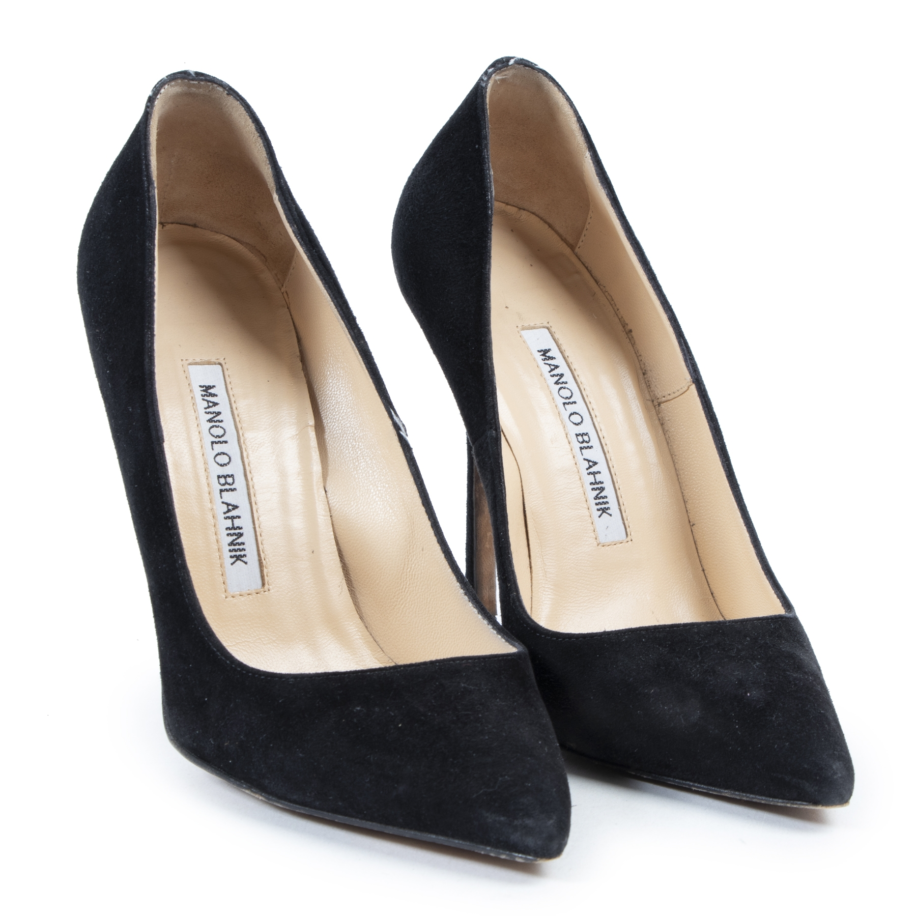 Authentic secondhand Manolo Blahnik Black BB Suede Pointed Toe Pumps - Size 35 designer shoes accessories high heels fashion luxury vintage webshop safe secure online shopping