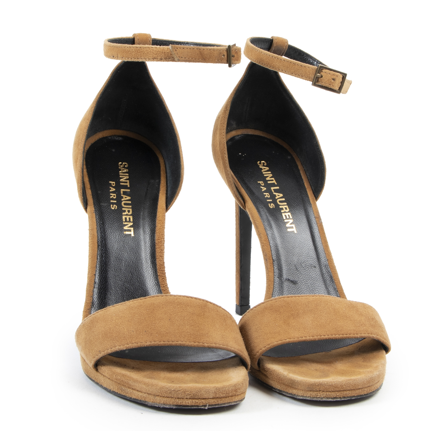 Authentic secondhand Saint Laurent Camel Suede Sandals - size 35 designer shoes fashion luxury vintage webshop safe secure online shopping