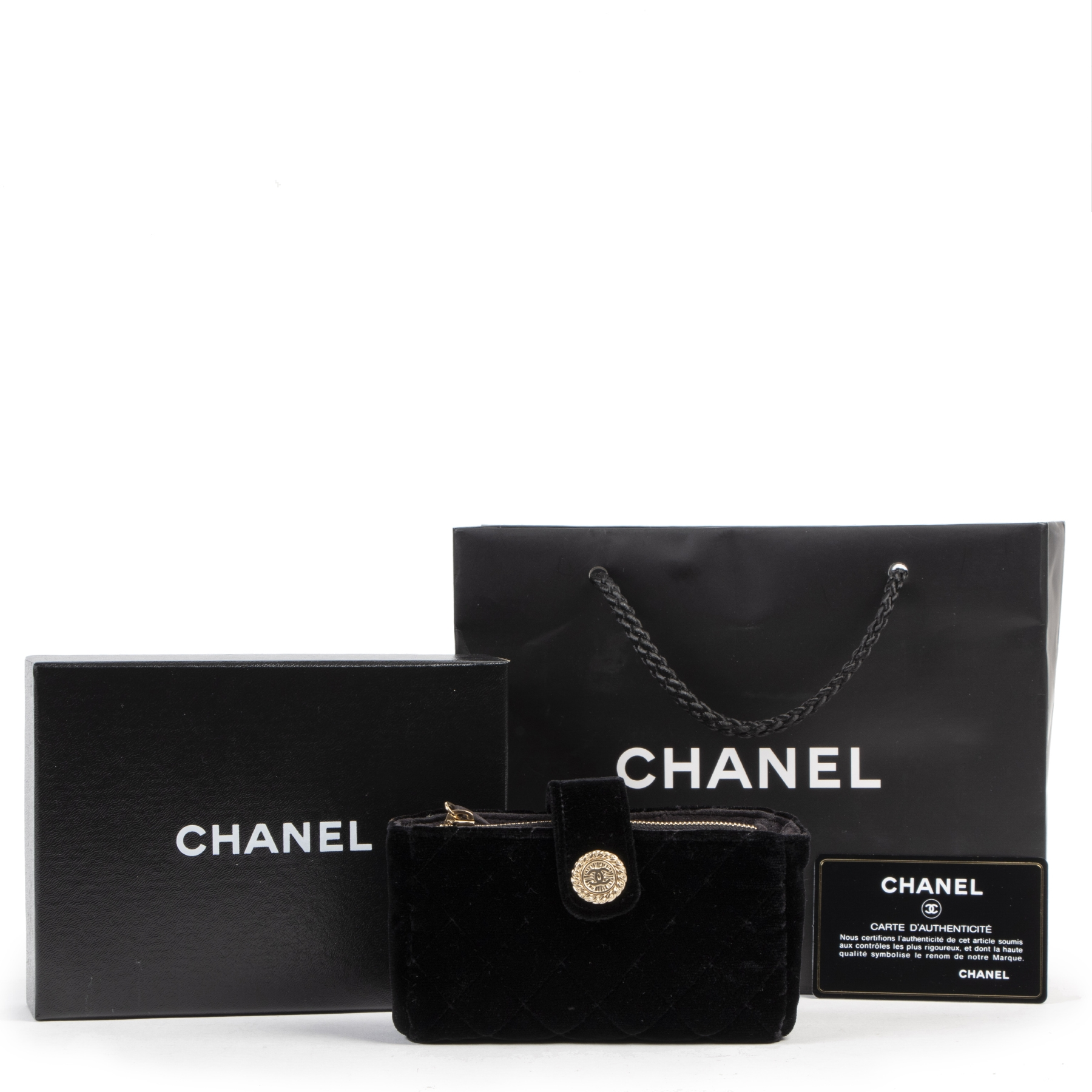 Authentique seconde-main vintage Chanel Black Velvet Wallet achète en ligne webshop LabelLOV