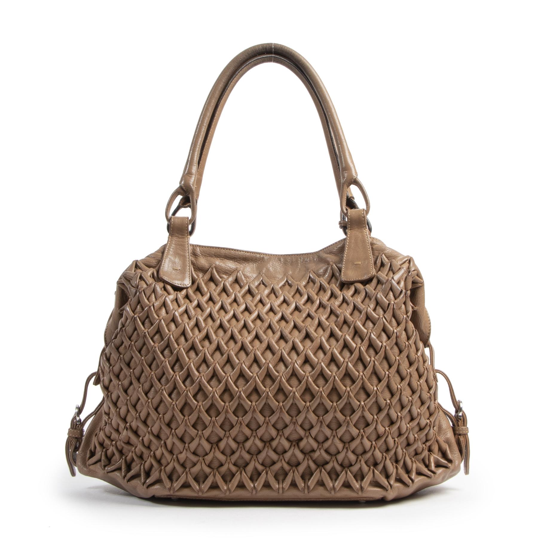 Authentieke Tweedehands Salvatore Ferragamo Braided Brown Bag juiste prijs veilig online shoppen luxe merken webshop winkelen Antwerpen België mode fashion