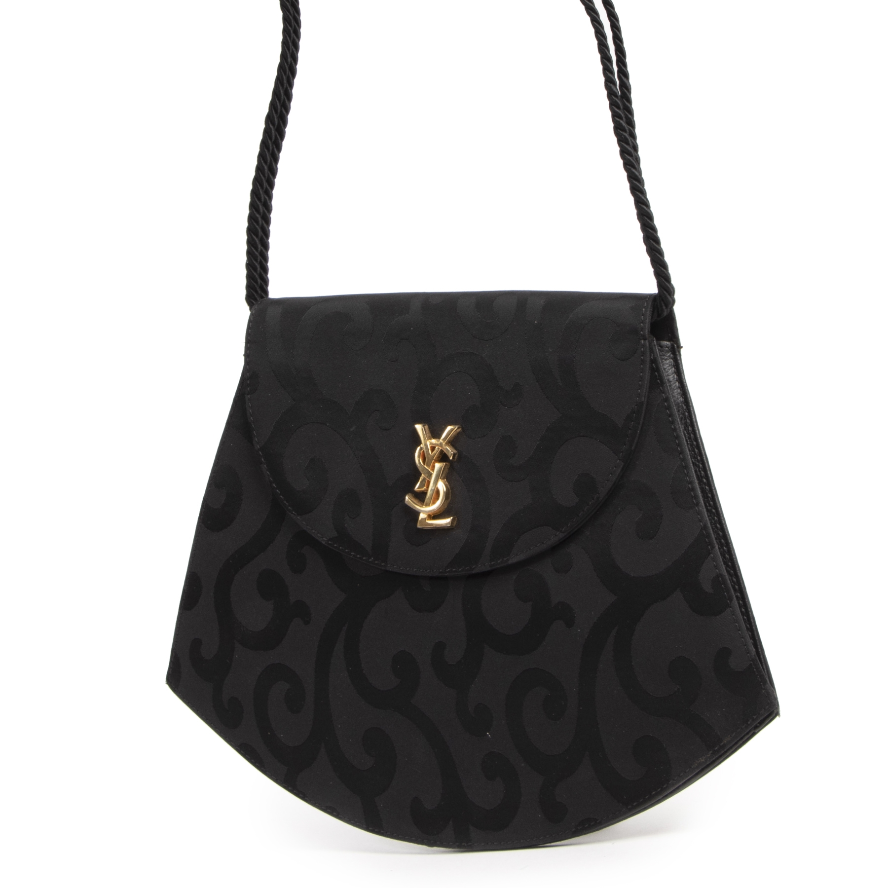 Authentieke Tweedehands Saint Laurent Black Tassle Shoulder Bag juiste prijs veilig online shoppen luxe merken webshop winkelen Antwerpen België mode fashion