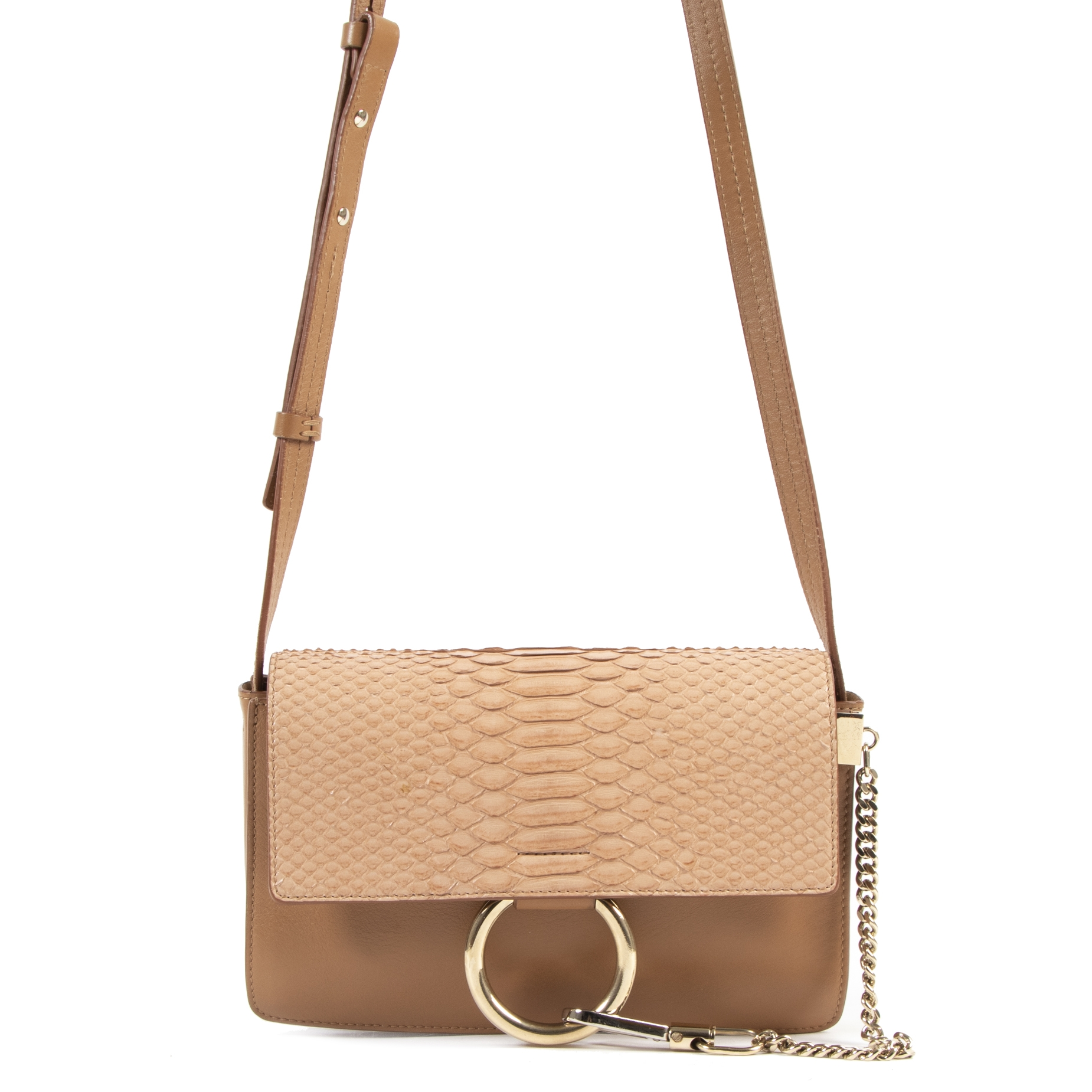 Chloe Caramel Python Calfskin Small Faye Shoulder Bag