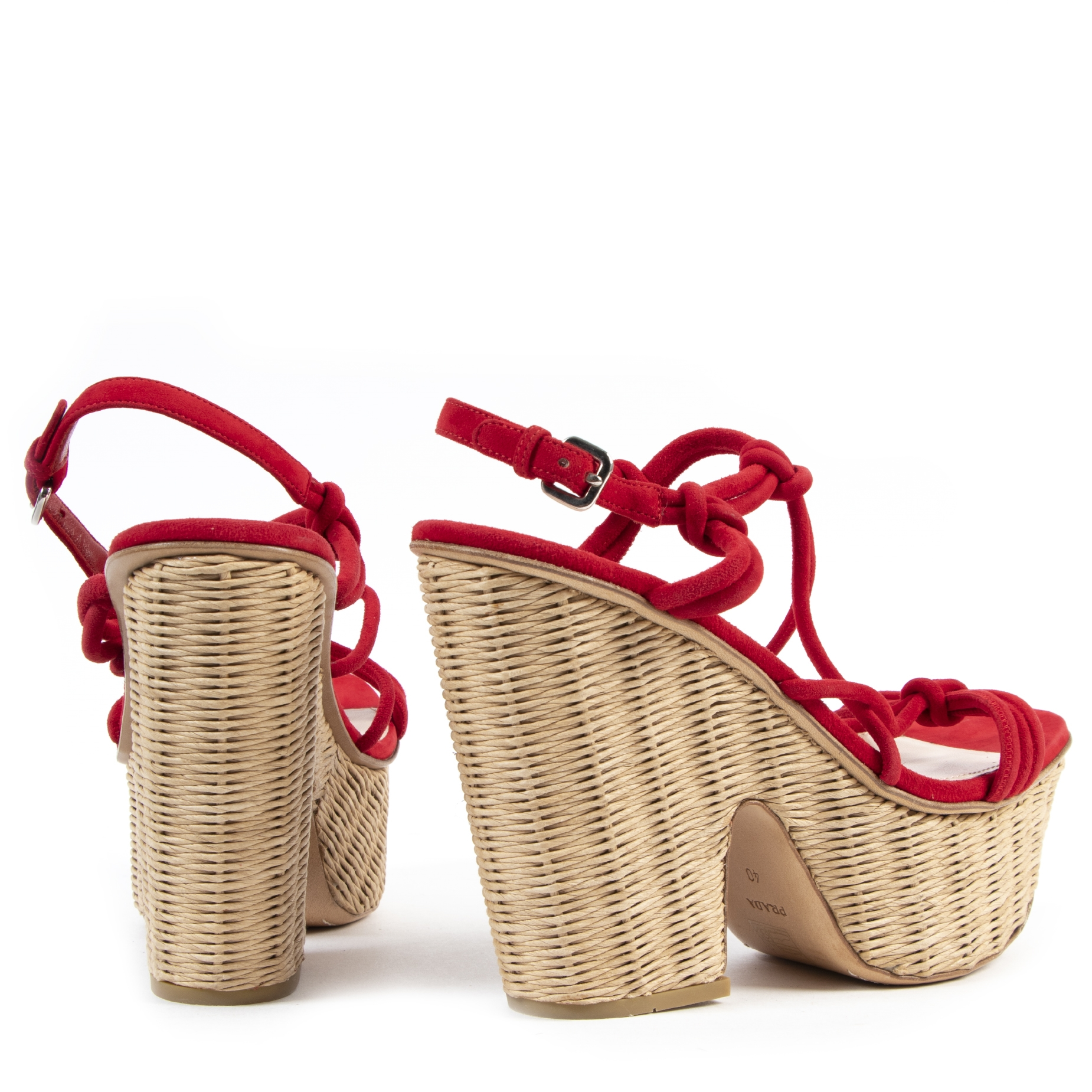Prada Red Suede Wicker Platform Sandals - size 40