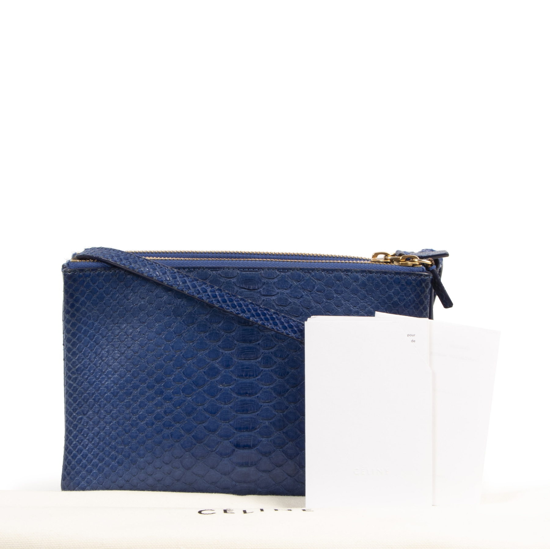 Authentieke tweedehands vintage Céline Trio Python Crossbody Bag koop online webshop LabelLOV