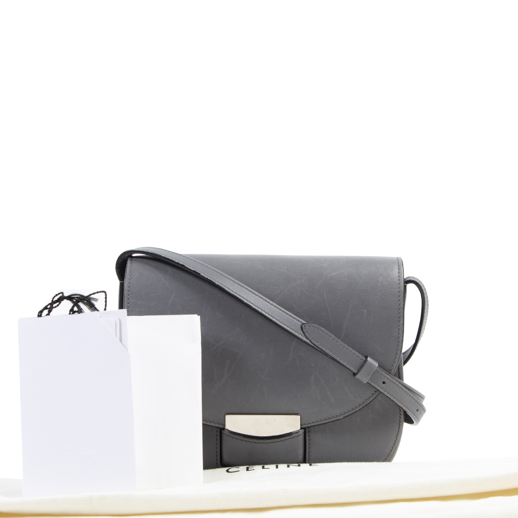 Authentique seconde-main vintage Céline Small Grey Trotteur Crossbody Bag achète en ligne webshop LabelLOV