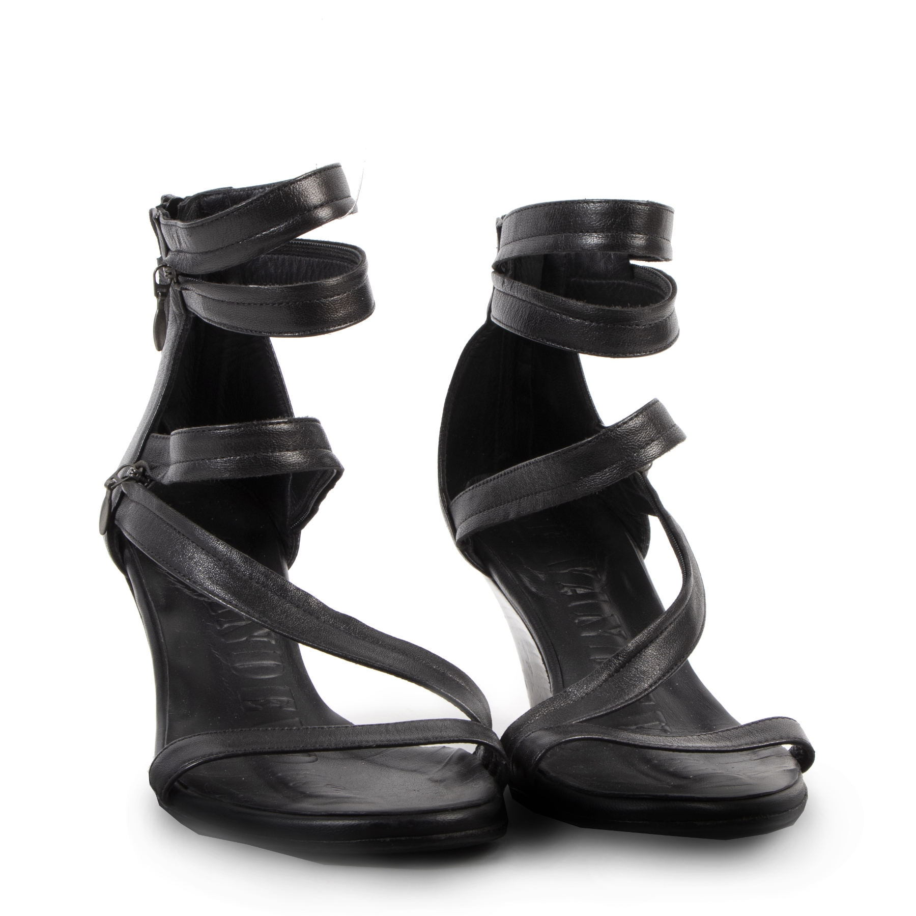 Authentique seconde-main vintage AF Vandevorst Black Wedge Sandals - Size 35,5 achète en ligne webshop LabelLOV